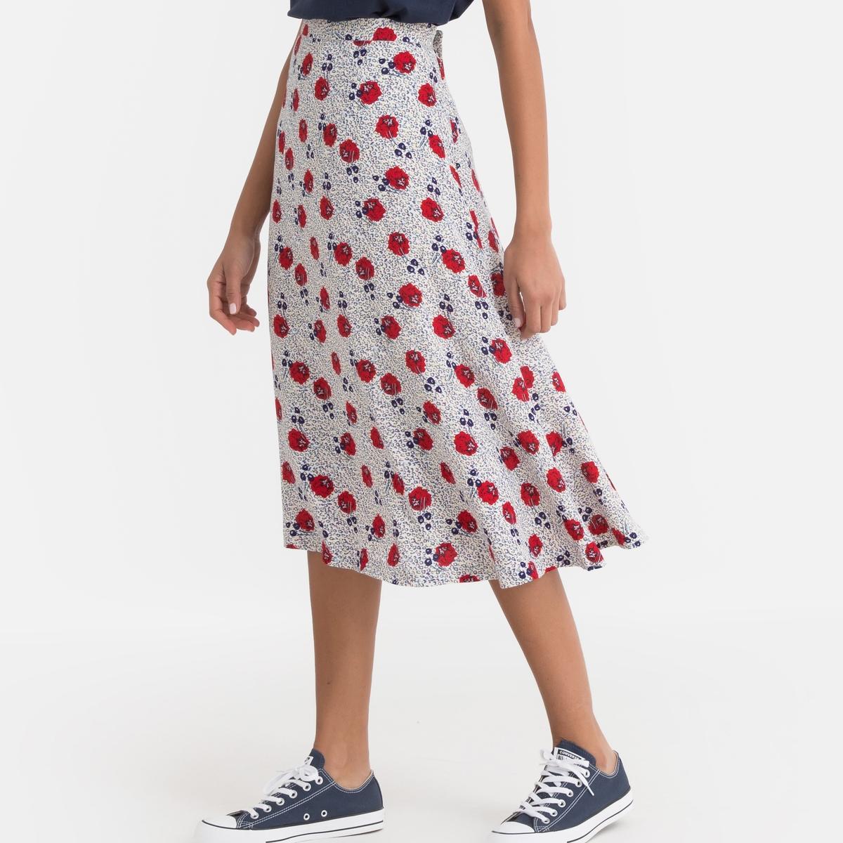 Юбка-миди La Redoute С цветочным рисунком 40 (FR) - 46 (RUS) красный юбка la redoute короткая расклешенная с цветочным рисунком и оборками на поясе xs бежевый