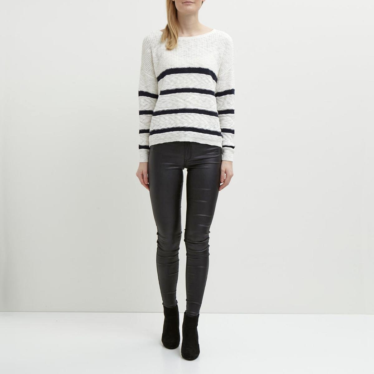 Пуловер в полоску с длинными рукавами