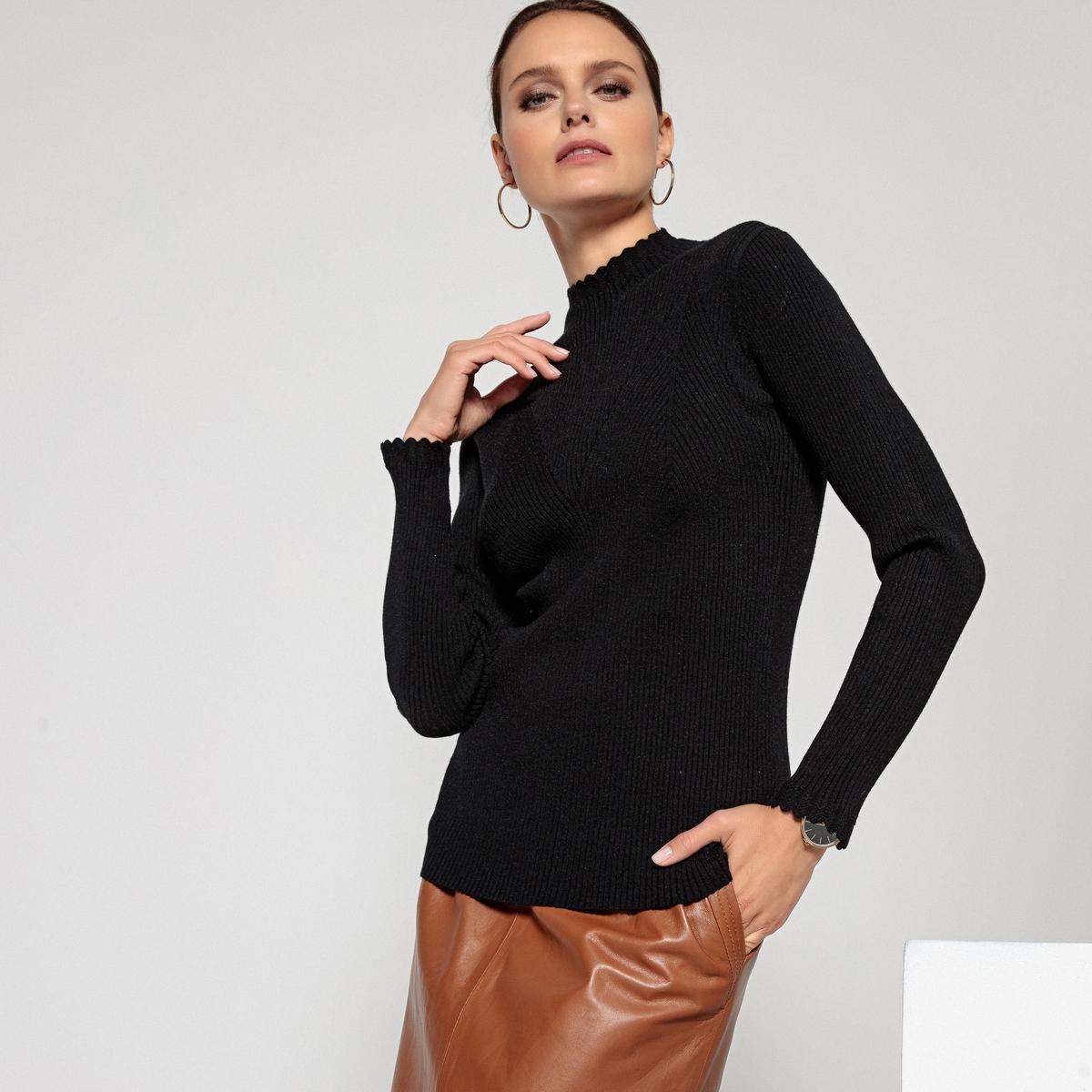 Пуловер La Redoute С воротником-стойкой и длинными рукавами из трикотажа в рубчик 42/44 (FR) - 48/50 (RUS) черный