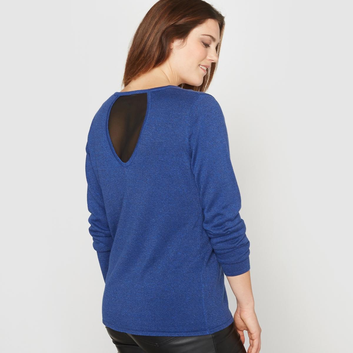 Пуловер с V-образным вырезом и оригинальной спинкой