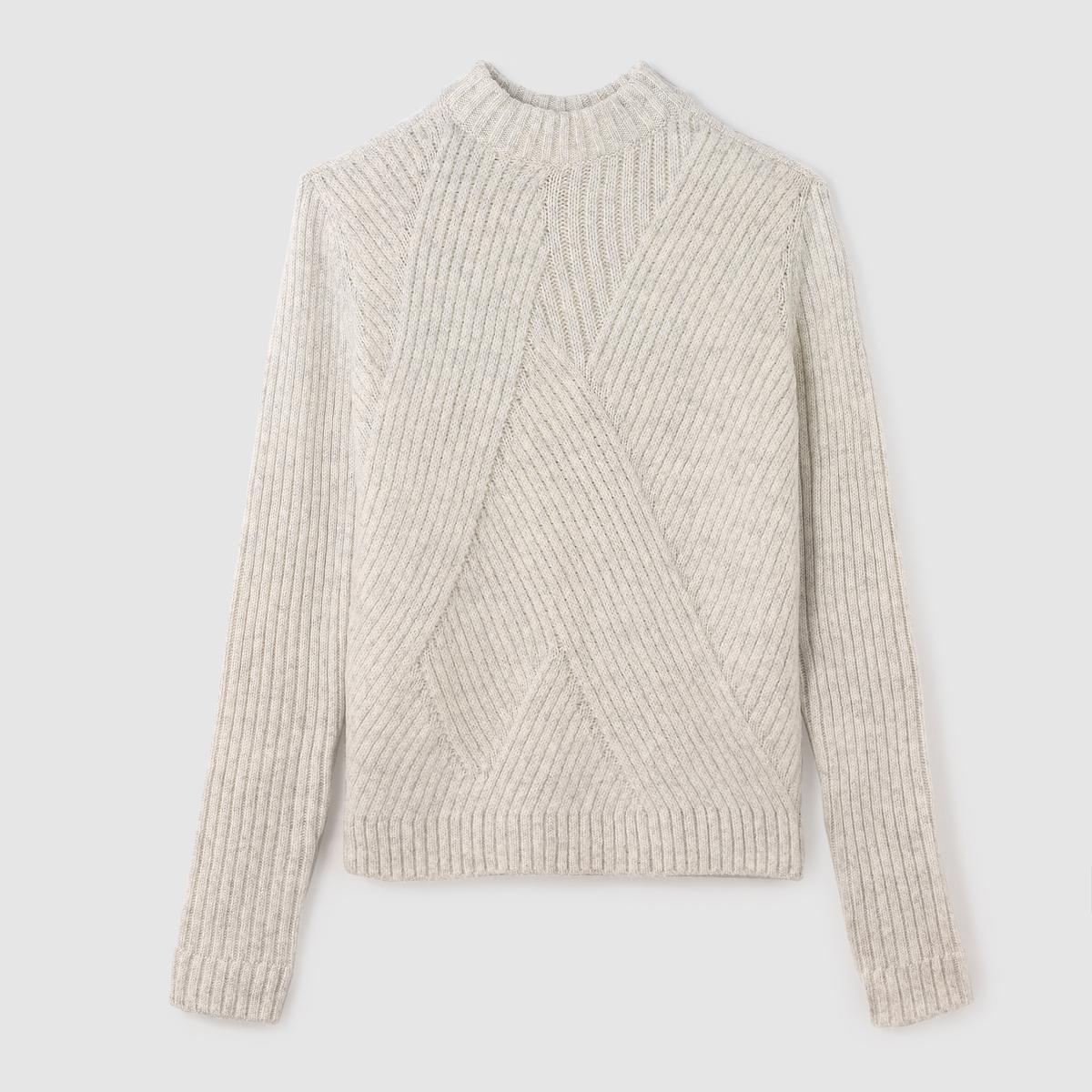Пуловер трикотажный короткийПуловер с длинными рукавами TOM TAILOR  . Пуловер укороченного покроя . Трикотаж перекрестного асимметричного покроя . Высокий воротник. Края низа, выреза и манжет связаны в рубчик. Состав и описание :Материал : 70% акрила, 30% полиамидаМарка : TOM TAILOR.<br><br>Цвет: экрю