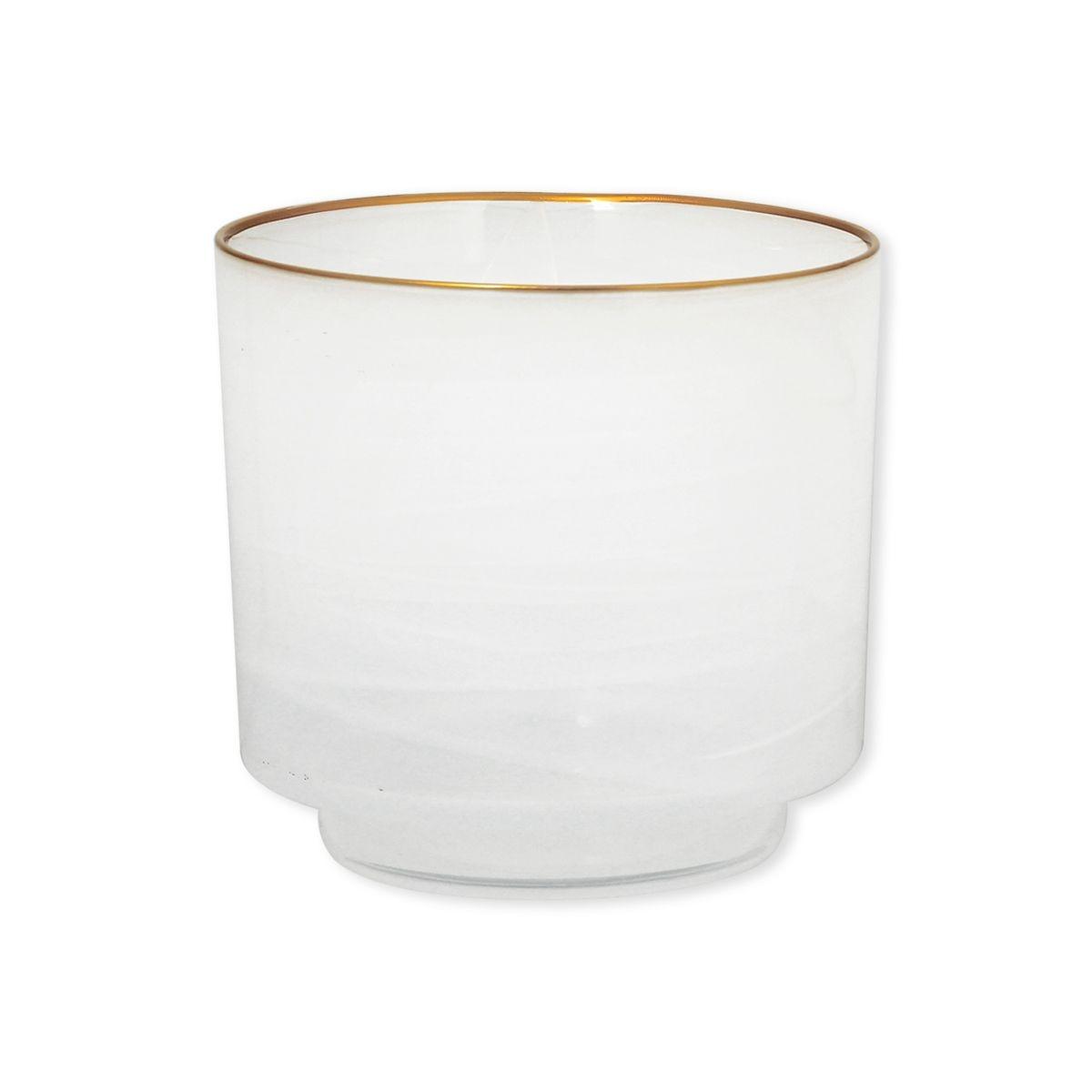 Photophore blanc en verre filet or 15cm - LORADA