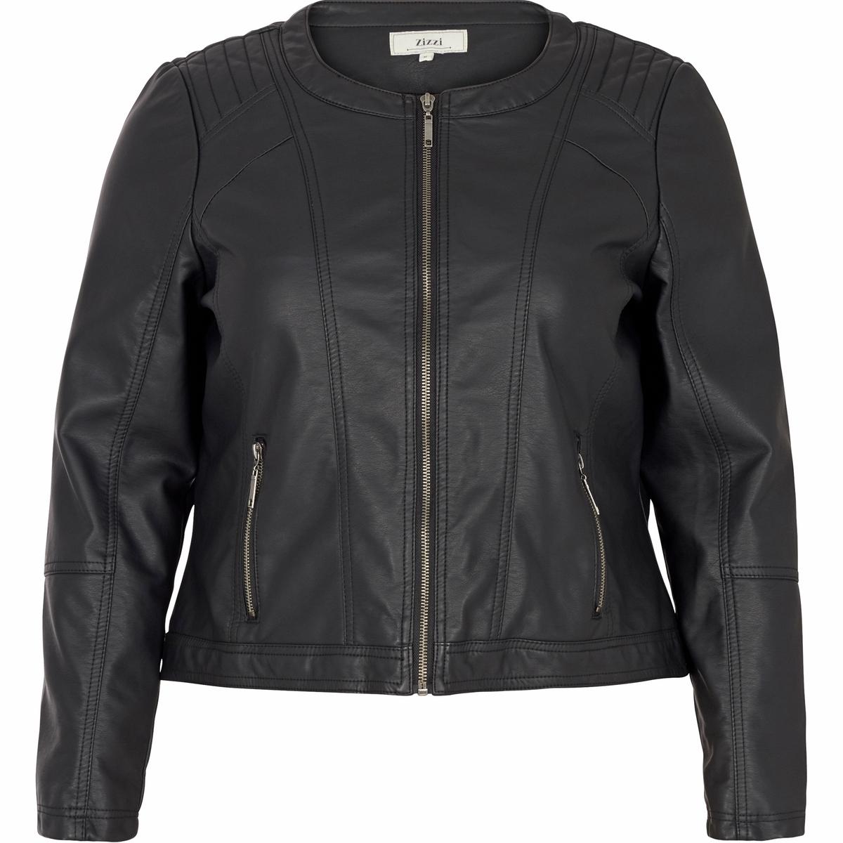 Куртка из искусственной кожиКуртка из искусственной кожи ZIZZI. Короткая модель с длинными рукавами и круглым вырезом. Застежка на молнию спереди, на уровне карманов и на рукавах  . 100% полиуретана.<br><br>Цвет: черный