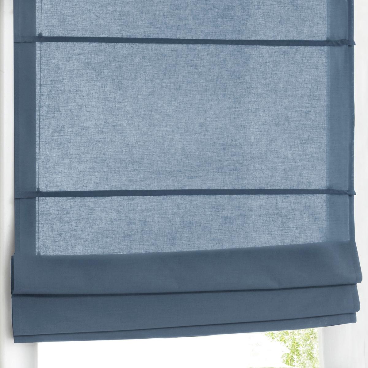 Штора LaRedoute Римская затемняющая 100 хлопок 170 x 50 см синий