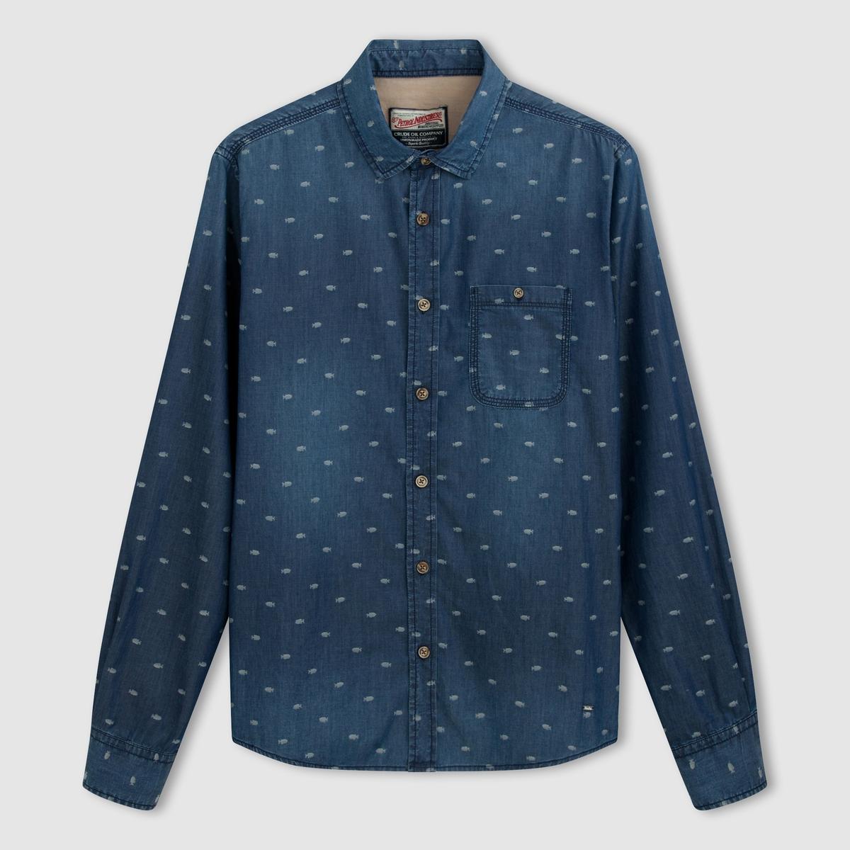 Рубашка с рисункомСостав и описание :                                      Материал : 100% хлопка                                      Марка : PETROL INDUSTRIES.<br><br>Цвет: синий морской<br>Размер: L