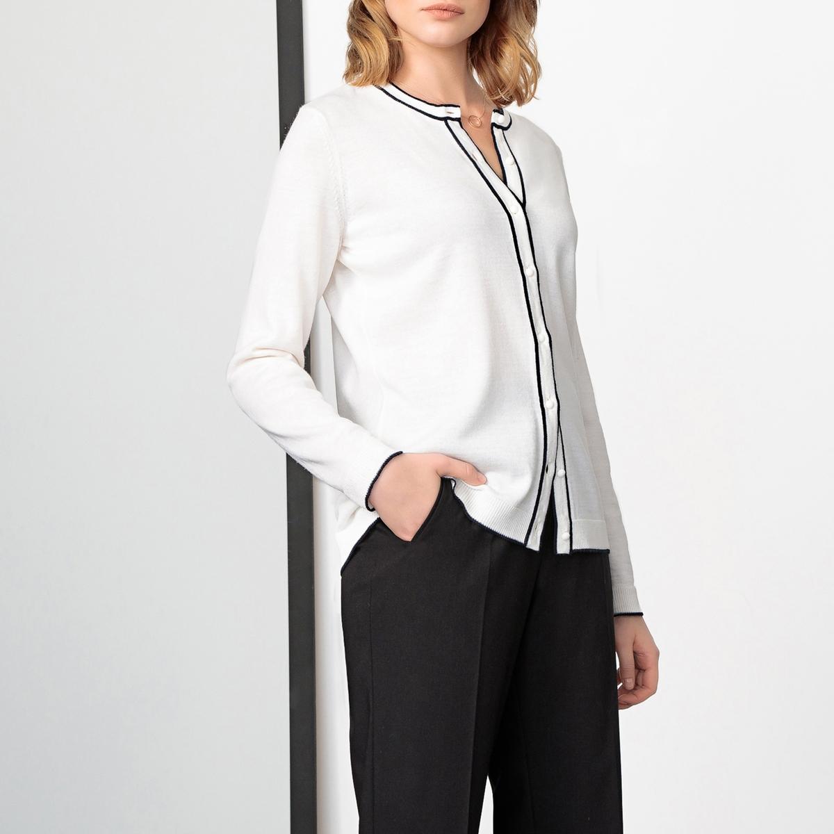 Imagen principal de producto de Cárdigan 50% lana merina con cuello redondo, abotonada - Anne weyburn
