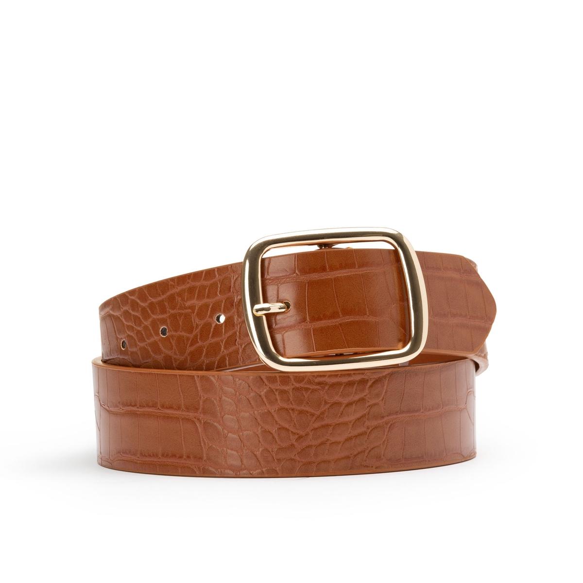 Cinturón con motivo cocodrilo y hebilla dorada