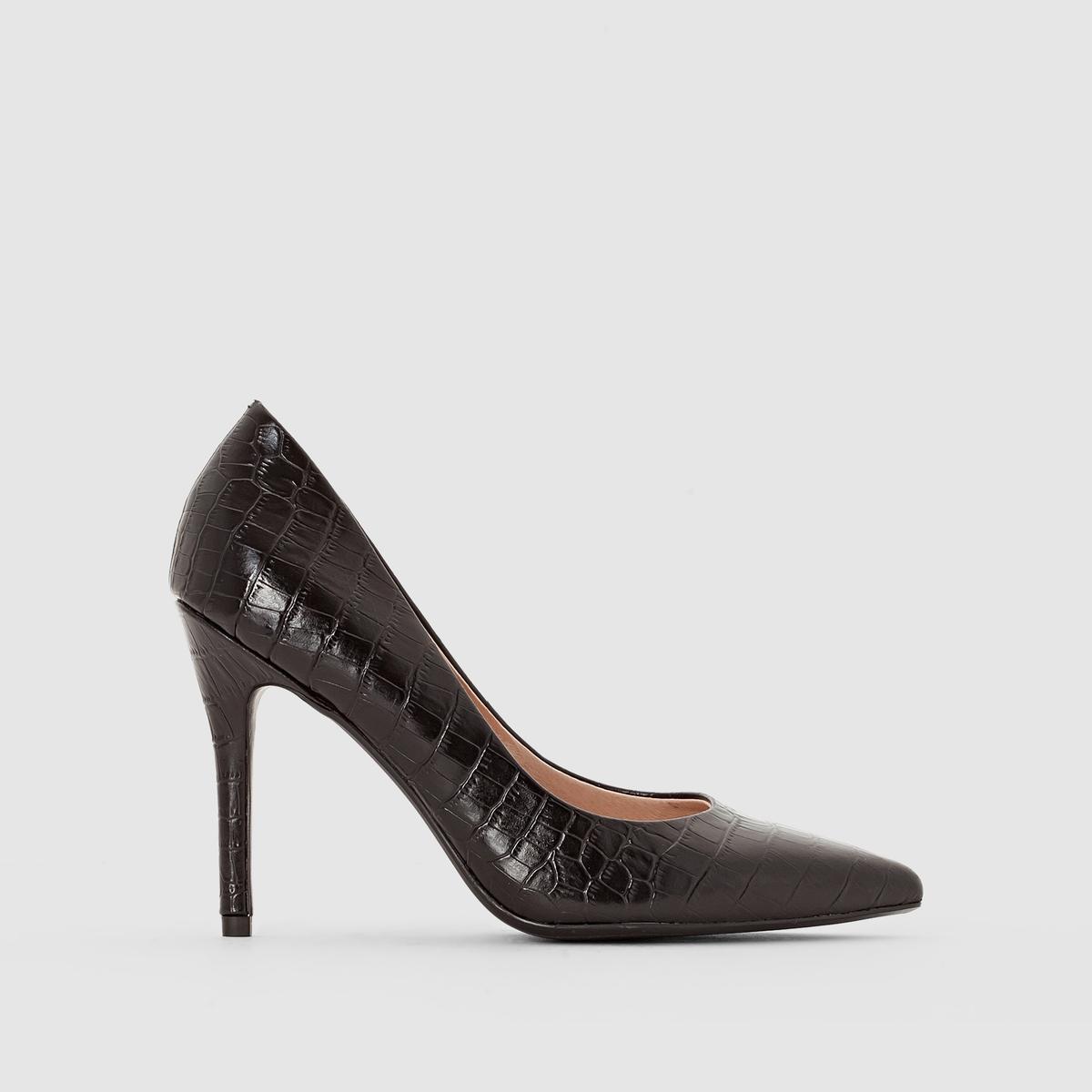 Туфли-лодочки под крокодиловую кожуВерх : синтетика под крокодиловую кожуПодкладка : кожаСтелька : кожаПодошва : эластомерВысота каблука : 10 смФорма каблука : Шпилька.Мысок : тонкий мысокМарка: Atelier R.без застежки<br><br>Цвет: черный<br>Размер: 41