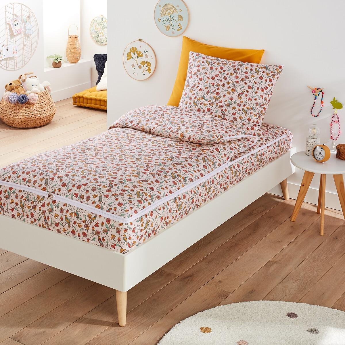 Фото - Постельное LaRedoute Белье с одеялом Bertille 90 x 140 см розовый простыня laredoute натяжная 100 стираный хлопок alhambra 140 x 190 см белый