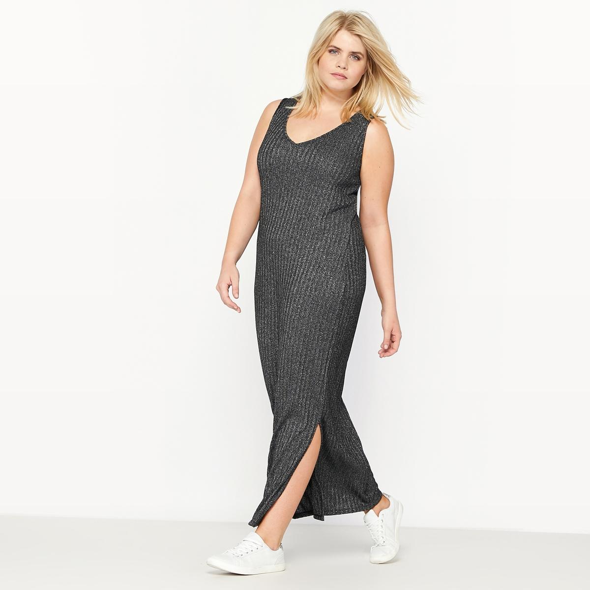 Платье-пуловер из рифленого трикотажаПлатье-пуловер из рифленого трикотажа.V-образный вырез спереди.Разрезы по бокам. Состав и описание :Материал : рифленый трикотаж 69 % полиэстера, 22 % вискозы, 9 % металлизированного волокнаДлина : 130 см для размера 48Марка : CASTALUNAУход : Машинная стирка при 30 °С в деликатном режиме<br><br>Цвет: черный