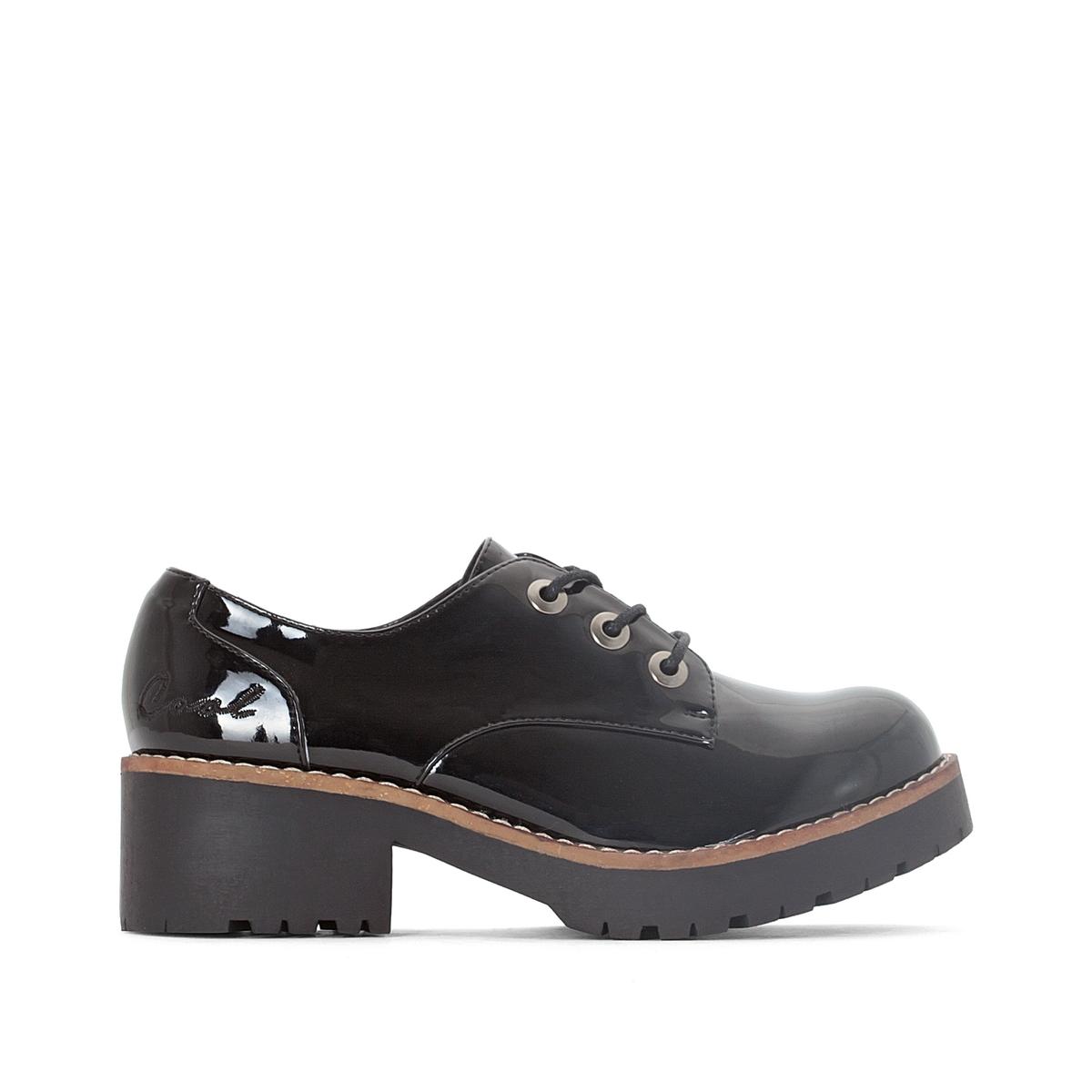 Ботинки-дерби лакированные на каблуке Cherblu