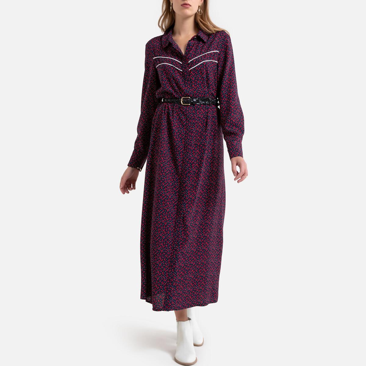 Платье La Redoute Макси расклешенное с цветочным принтом 34 (FR) - 40 (RUS) синий платье la redoute длинное с цветочным рисунком и напускным эффектом 34 fr 40 rus черный