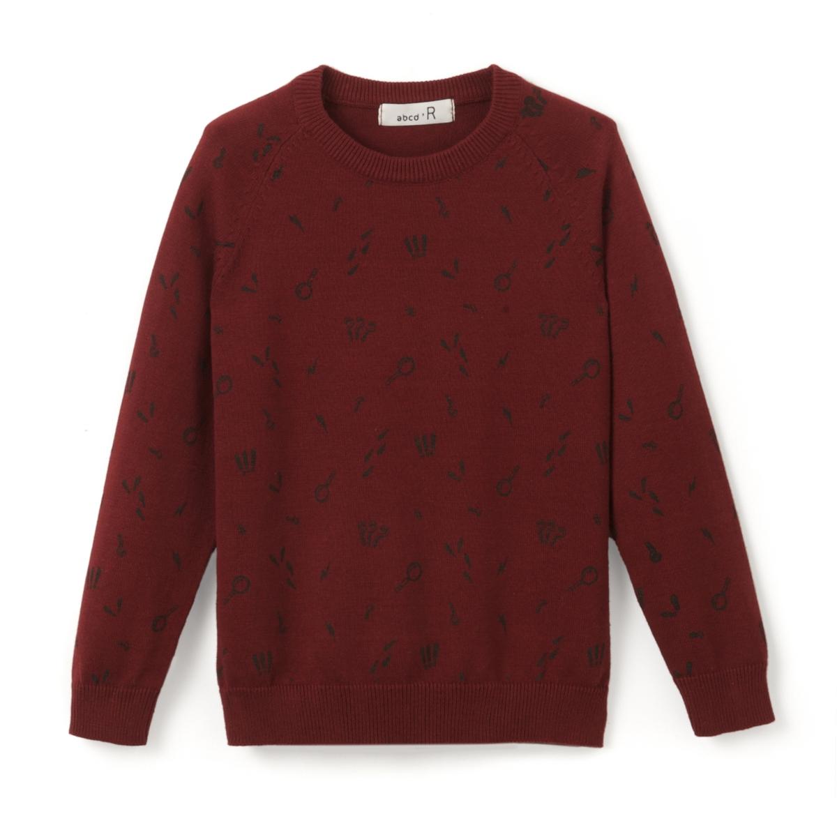 Пуловер с круглым вырезом и рисунком, 3-12 лет