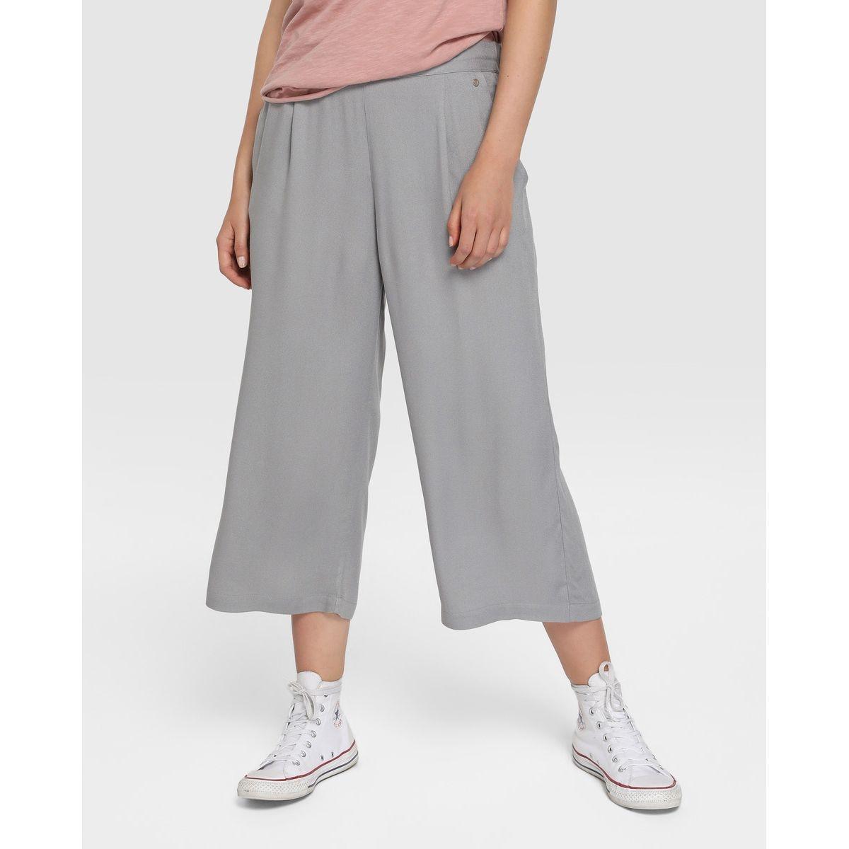 Pantalon cropped à taille élastique