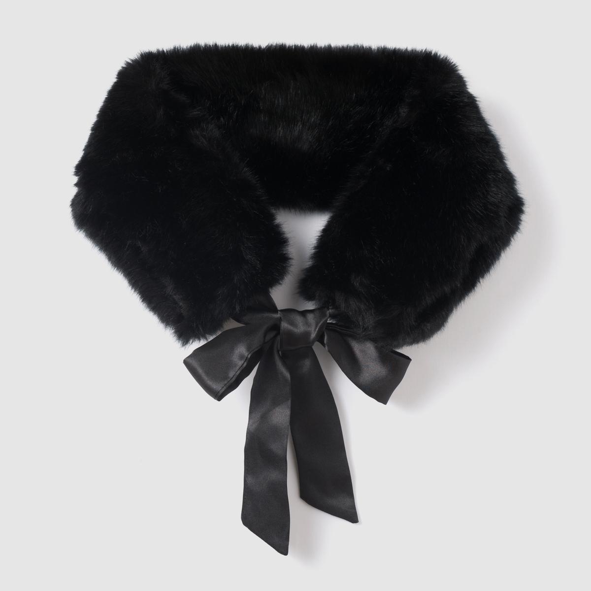 Воротник из искусственного меха, бантВоротник из искусственного меха, бант, Anne Weyburn.Очаровательный воротник из искусственного меха с завязками для пальто, пуловера, для большей женственности и утонченности зимнего гардероба.  Воротник из искусственного меха, 100% полиэстера.Завязки из сатиновой ленты.Размеры. : 65 см.<br><br>Цвет: черный