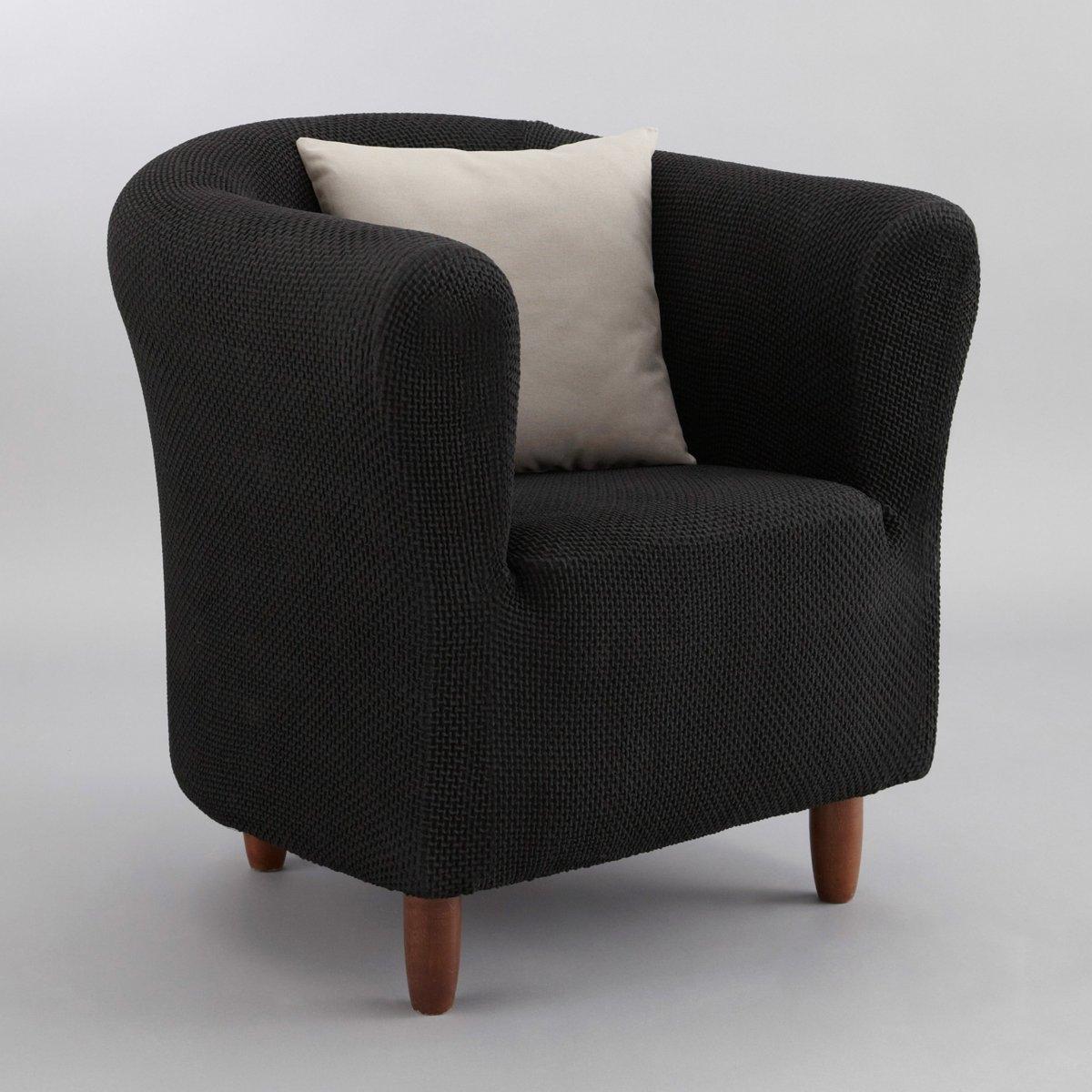 Чехол для креслаИз эластичной гофрированной ткани, 55% хлопка, 40% полиэстера, 5% эластана. Стирка при 30°. Эластичный низ.<br><br>Цвет: антрацит,красный,серо-коричневый каштан,серый,черный<br>Размер: единый размер.единый размер