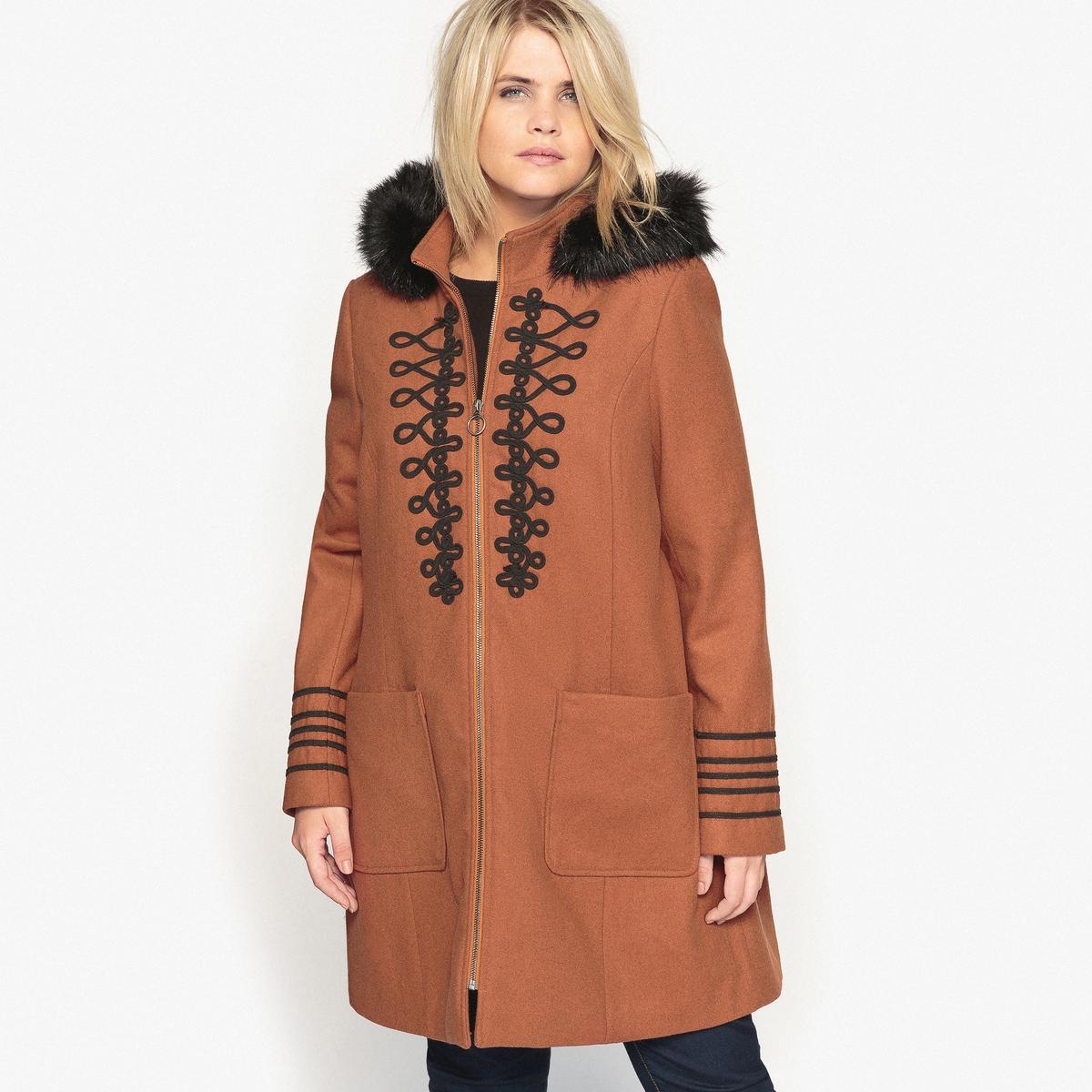 Пальто с капюшоном пальто из шерстяного драпа 70