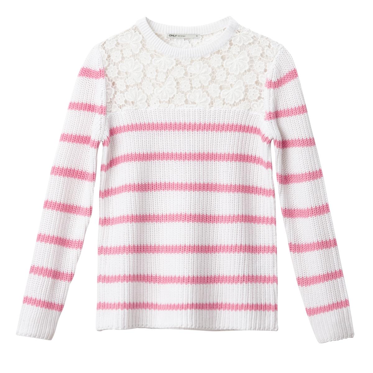 Пуловер с круглым вырезом, из тонкого трикотажа пуловер с круглым вырезом из хлопка и льна