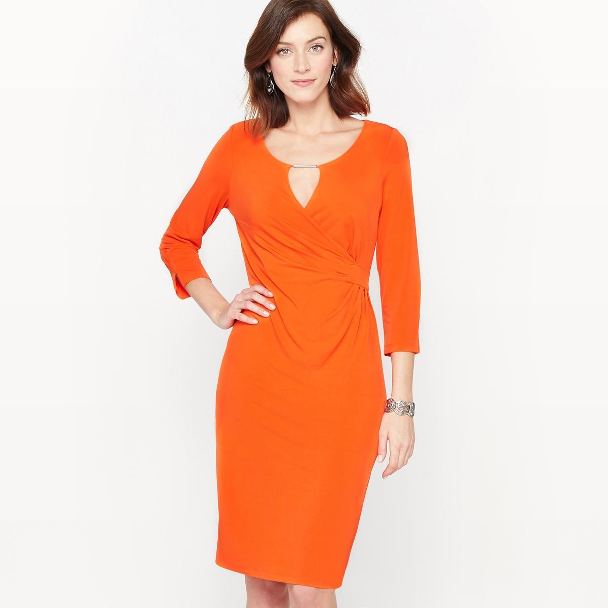 Платье из красивого крепаУльтра женственное платье. Выбор наших клиентов. Красивый струящийся и немнущийся креп. Круглый вырез с ложной драпированной накладкой с украшением золотистого цвета. Рукава 3/4 с небольшими разрезами по краям. Состав и описание :Материал : Красивый креп,95% полиэстера, 5% эластана.Подкладка : Верх основной части 100% полиэстер.Длина 95 см.Марка : Anne WeyburnУход :Машинная стирка при 30 °С в умеренном режиме.Гладить при низкой температуре.<br><br>Цвет: оранжевый<br>Размер: 48 (FR) - 54 (RUS).38 (FR) - 44 (RUS).50 (FR) - 56 (RUS)