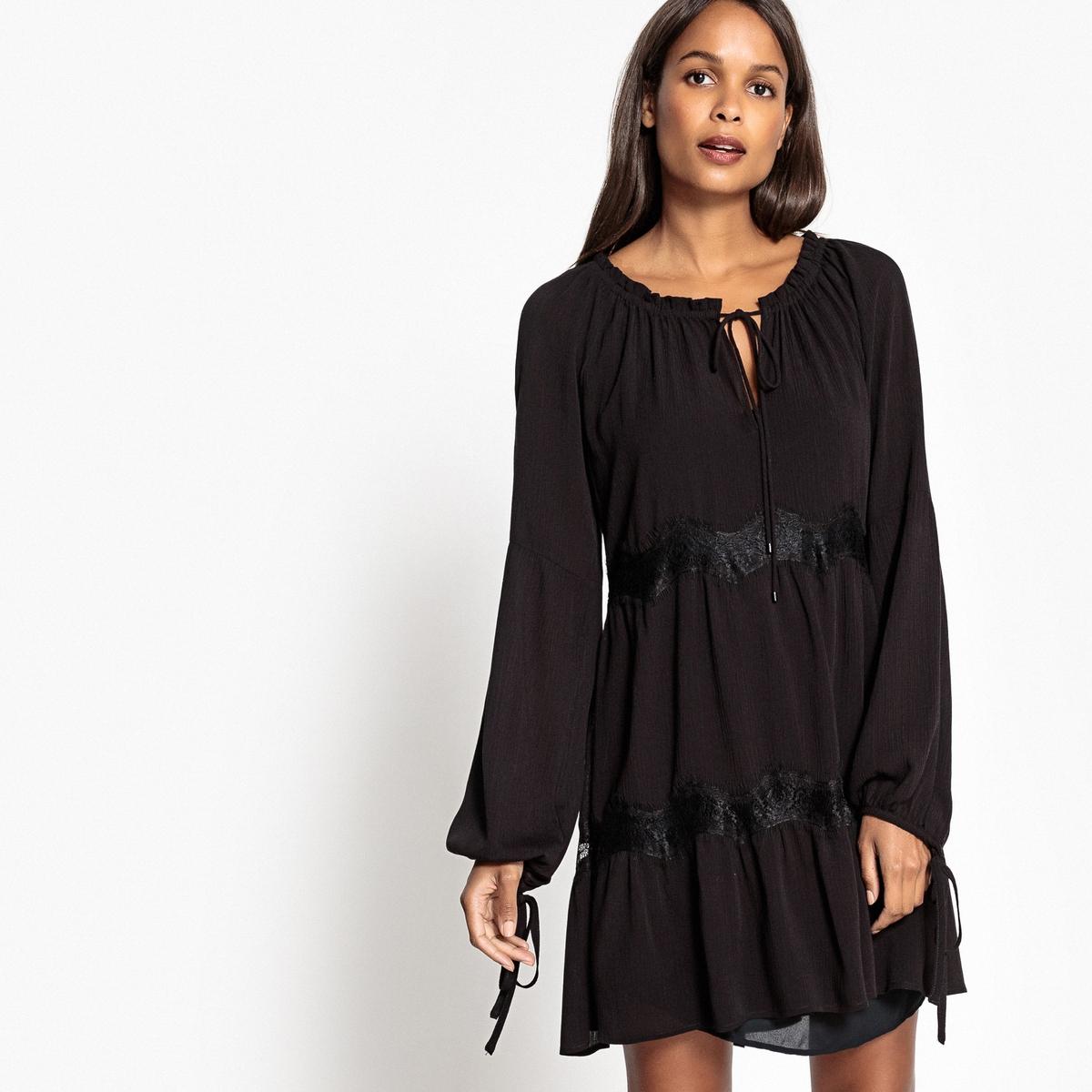 Платье однотонное прямого и короткого покроя с длинными рукавамиОписание:Детали •  Форма : прямая •  Укороченная модель •  Длинные рукава    •  Круглый вырезСостав и уход •  100% вискоза •  Следуйте советам по уходу, указанным на этикетке<br><br>Цвет: красно-коричневый,черный<br>Размер: XS.S.M.XL