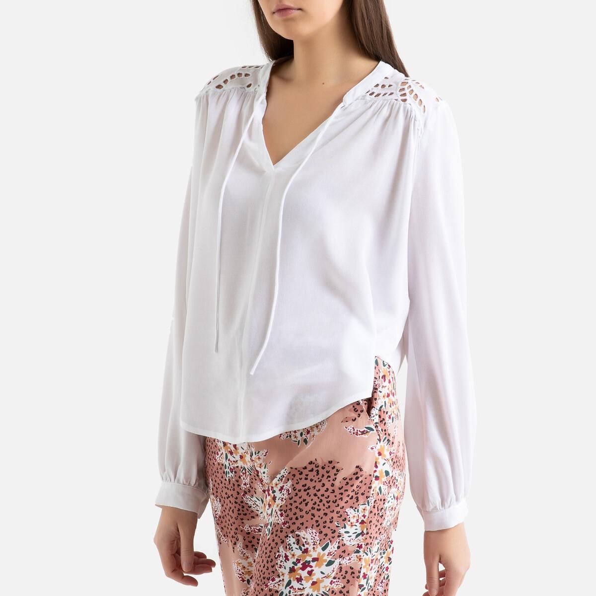 Блузка La Redoute С круглым вырезом и длинными рукавами LAVINA 1(S) белый блузка lime блузка с завязками