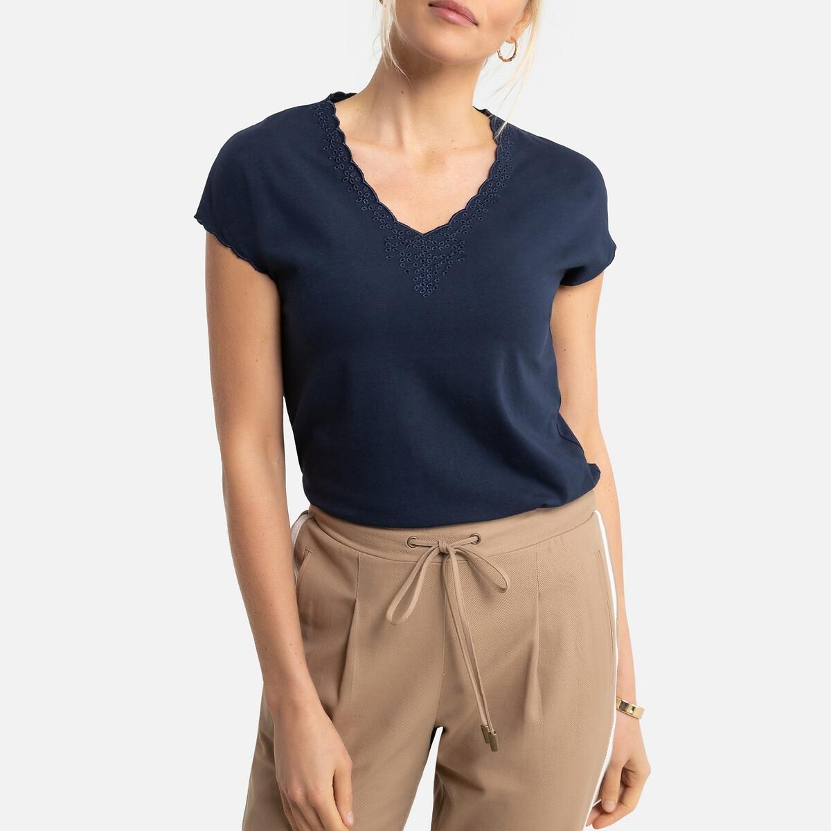 T-shirt com decote em V, mangas curtas