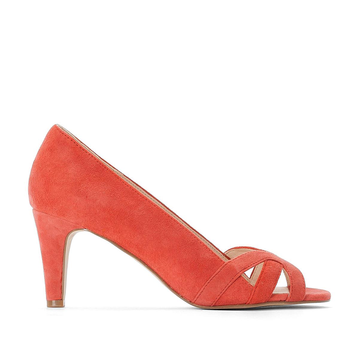 Туфли La Redoute Кожаные с открытым мыском 35 оранжевый туфли la redoute кожаные с открытым мыском и деталями золотистого цвета 41 черный