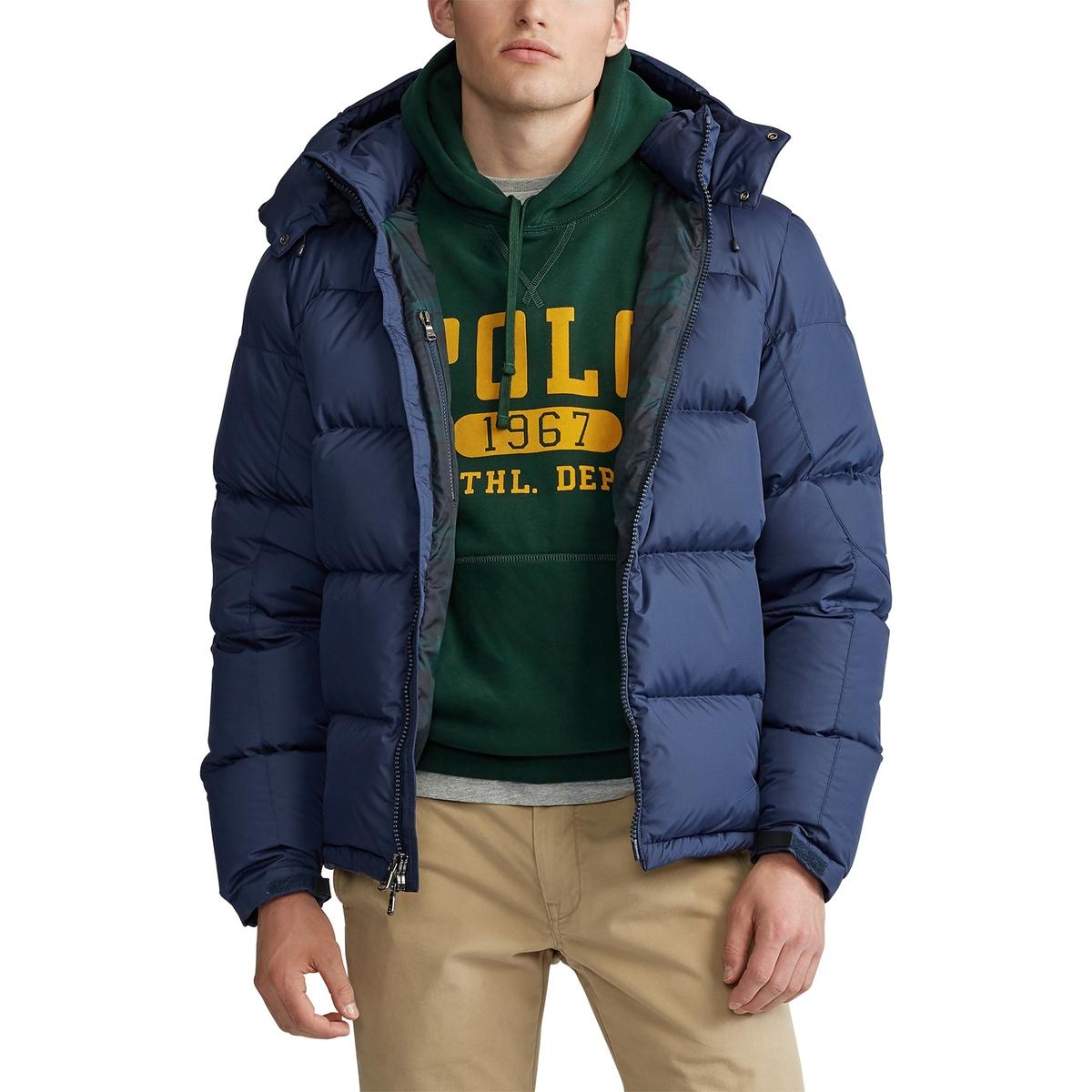 Куртка La Redoute Стеганая на молнии утепленная со съемным капюшоном M синий цены