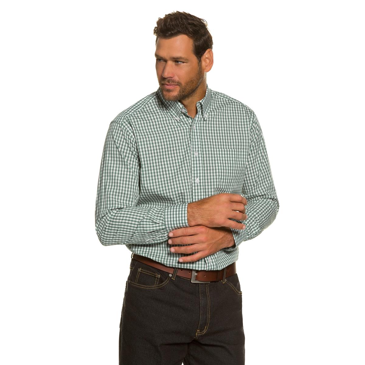 Рубашка с длинными рукавамиРубашка с длинными рукавами JP1880. Рубашка в клетку, воротник с кончиками на пуговицах . Удобный покрой. Длина в зависимости от размера ок. 82-96 см. 100% хлопок.<br><br>Цвет: в клетку<br>Размер: 7XL