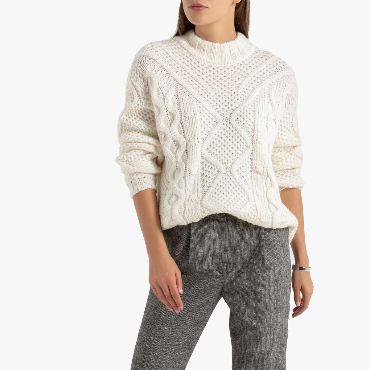 Пуловер La Redoute С воротником-стойкой из трикотажа с узором косы L белый
