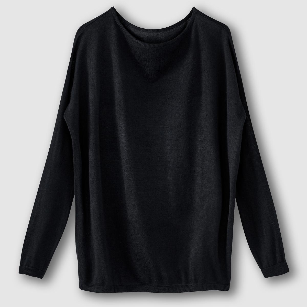 Пуловер свободного покроя из тонкого струящегося трикотажаСостав и описание :Материал : 100% акрилДлина : 64 смМарка : R EditionУход :Машинная стирка при 30 °С с вещами схожих цветов.<br><br>Цвет: серый меланж,синий морской,фуксия,черный<br>Размер: 38/40 (FR) - 44/46 (RUS).38/40 (FR) - 44/46 (RUS)