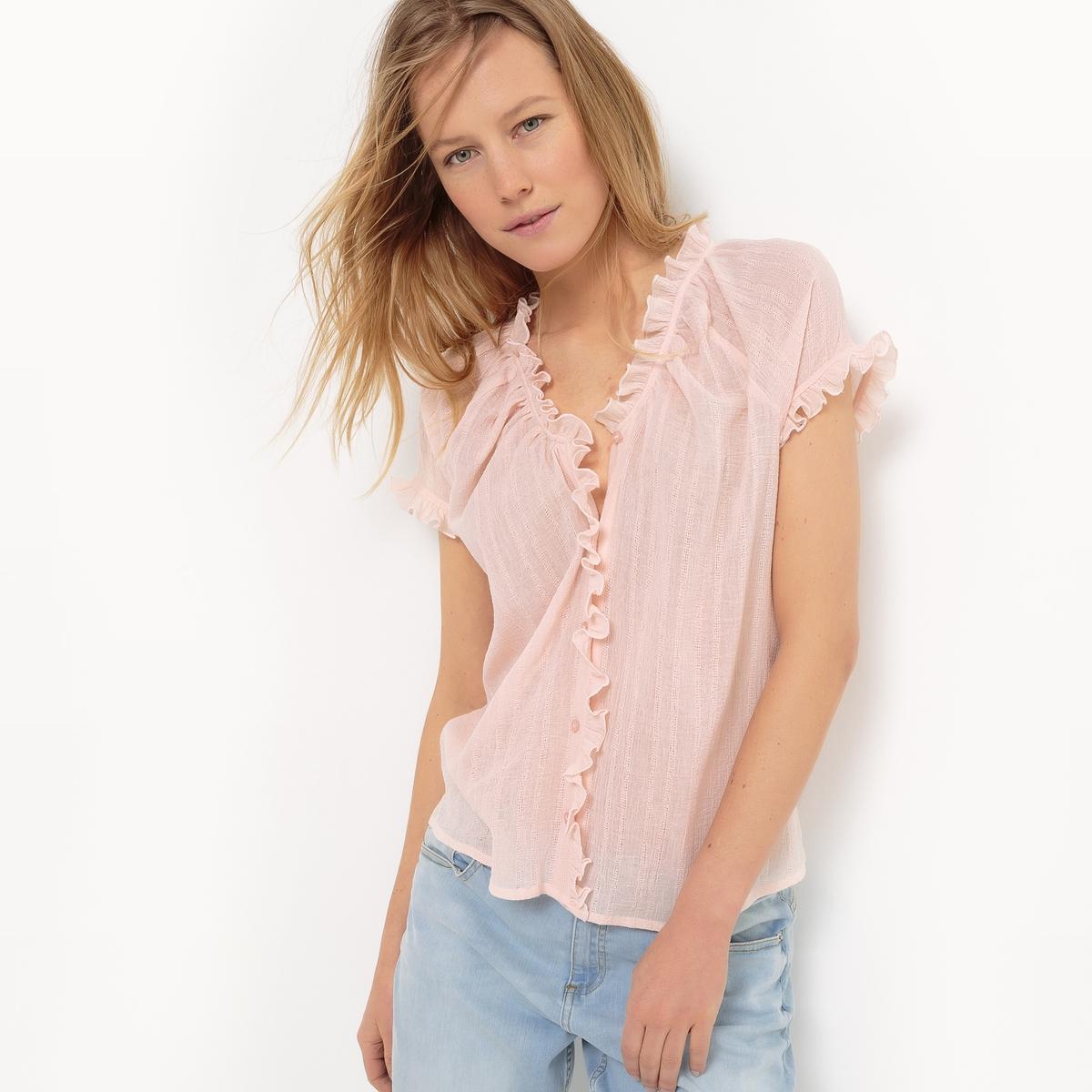 Рубашка с короткими рукавами и воланами