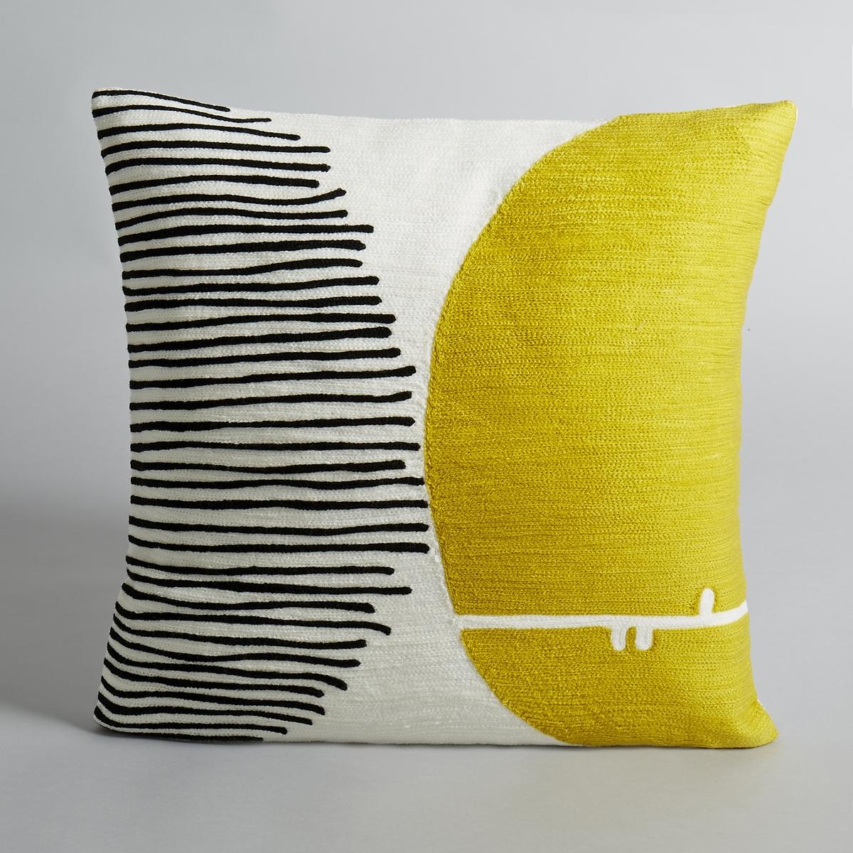 Чехол на подушку с вышивкой Mihn?aРисунок в горох. Вышивка по всей поверхности. 100 % хлопка.Горох жёлтого и чёрного цветов. Размеры:. 45 x 45 см.<br><br>Цвет: желтый/черный