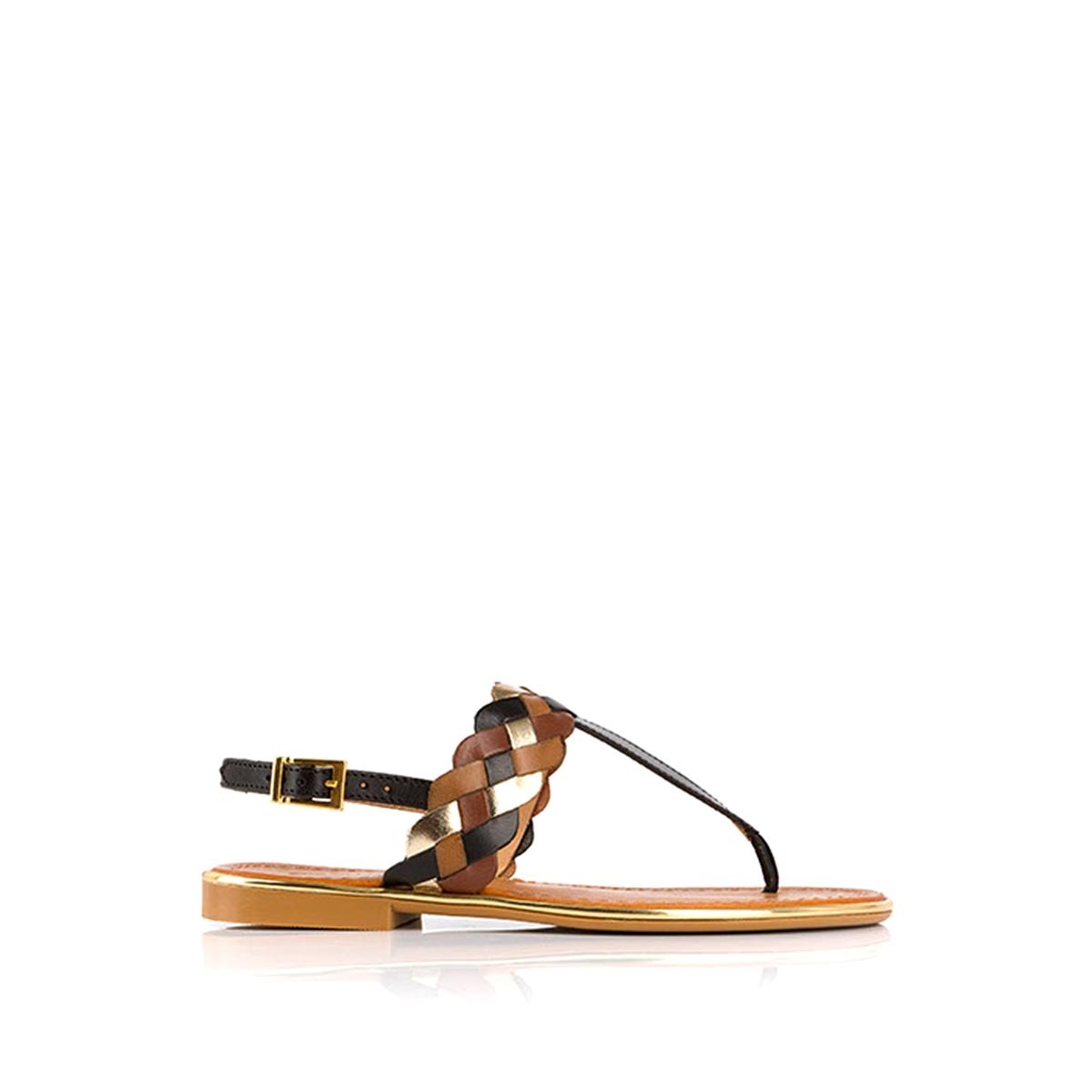 Босоножки кожаные BapoВерх: кожа.    Подкладка: кожа.    Стелька: кожа.    Подошва: синтетика.Высота каблука: 1 см.    Форма каблука: плоский каблук.Мысок: закругленный.    Застежка: пряжка.<br><br>Цвет: темно-бежевый / черный,темно-бежевый/розовый<br>Размер: 38.39.40