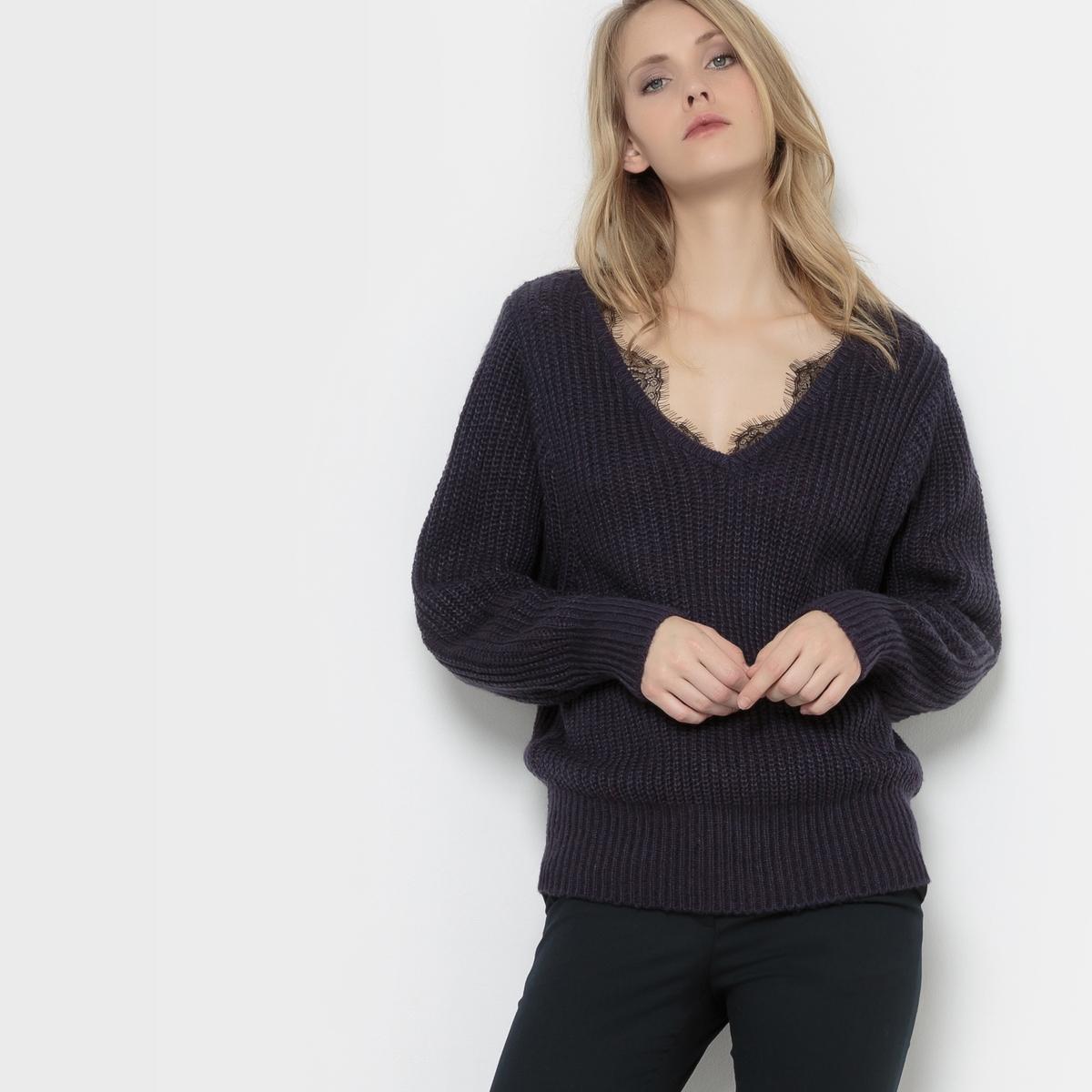 Пуловер с воротником из кружеваСостав и описаниеМатериал : 100% акрилаДлина : 62 смМарка : R EditionУходМашинная стирка при 30 °C с вещами схожих цветов<br><br>Цвет: темно-синий<br>Размер: 42/44 (FR) - 48/50 (RUS)