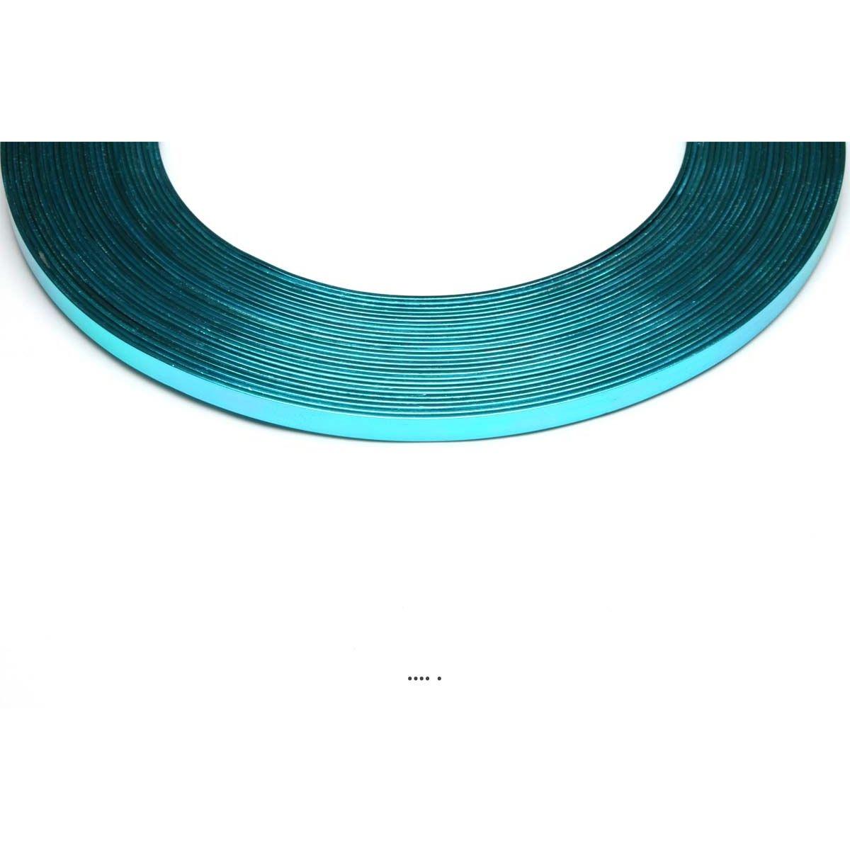 Fil aluminium Plat Bleu Turquoise souple lg 5 mm L 10 metres decoration - choisissez votre coloris: Bleu Turquoise
