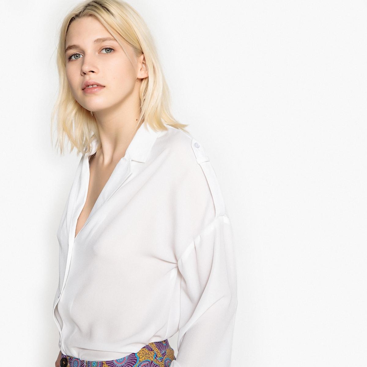Camisa lisa de manga larga, cuello sastre