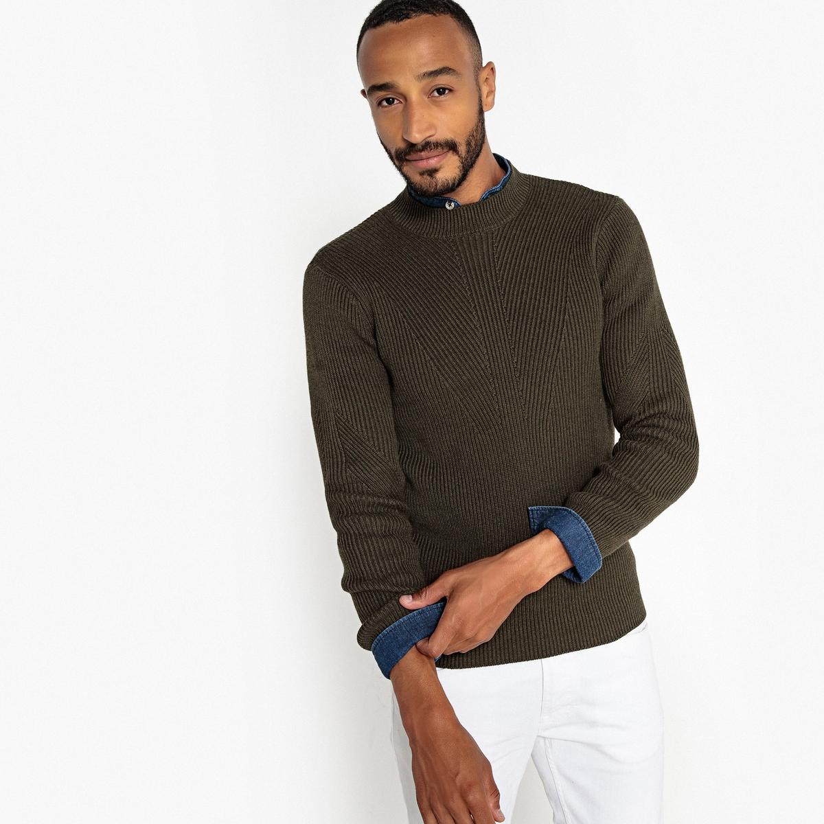 Пуловер La Redoute С круглым вырезом из плотного трикотажа 3XL зеленый пуловер la redoute с круглым вырезом из плотного трикотажа 3xl синий