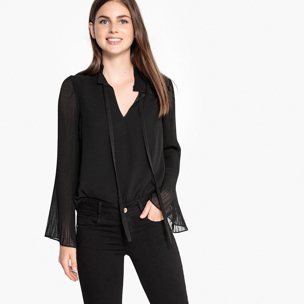 Блузка с длинными рукавами с плиссировкой madame à paris свитер с длинными рукавами