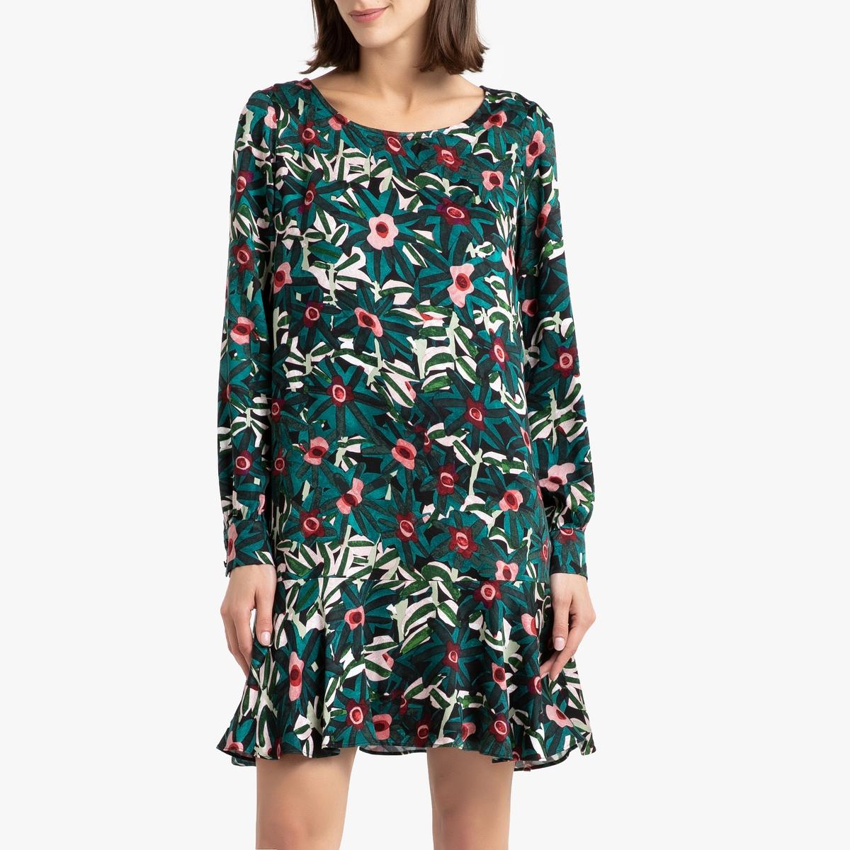 Платье La Redoute Короткое с рисунком и длинными рукавами COME 2(M) зеленый цены