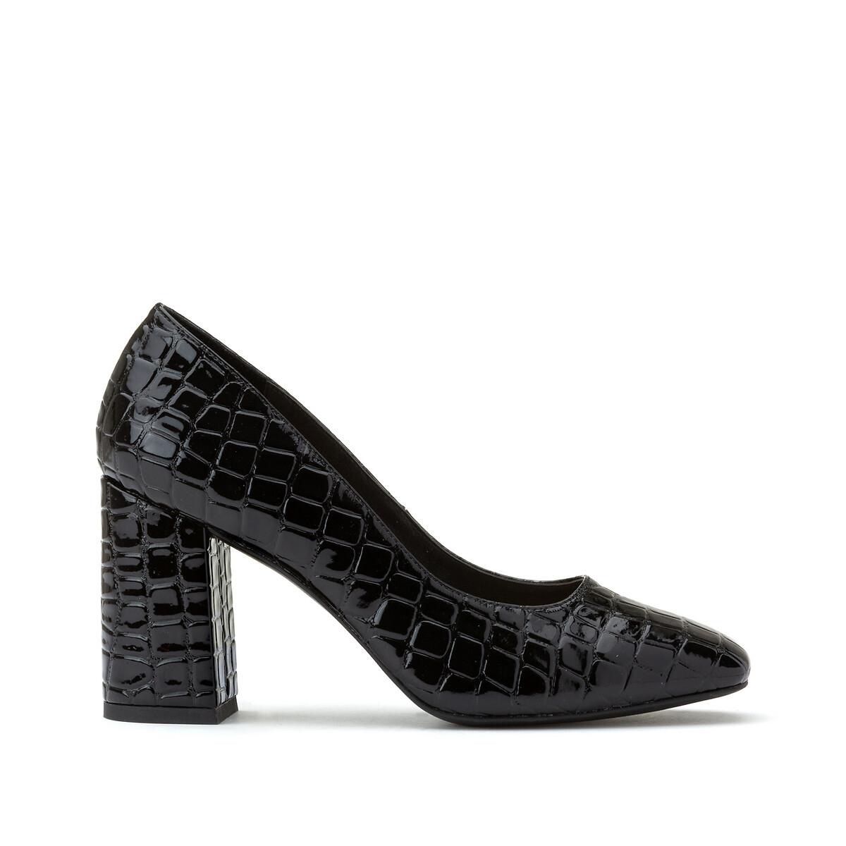 Туфли LaRedoute На высоком каблуке с эффектом крокодиловой кожи 40 черный