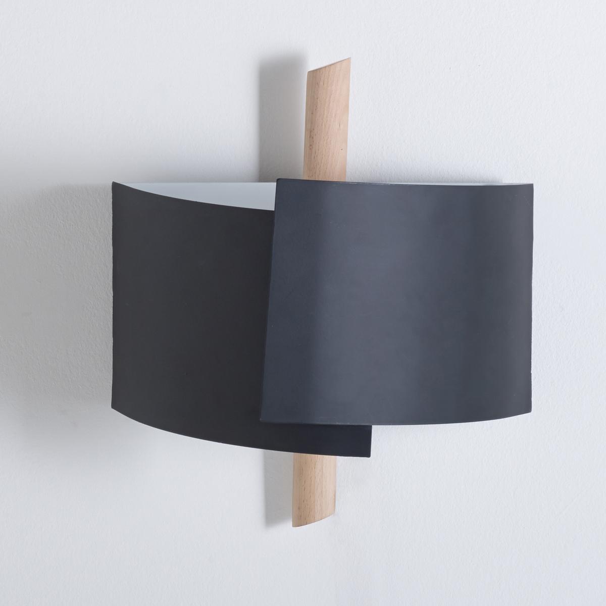 Бра дизайнерское, StolicoБра Stolico, из дерева и металла приятно рассеивает свет и выполнен в очень современном дизайне !Описание светильника  Stolico  :2 патрона E14, для флюокомпактных лампочек макс 11W (не входят в комплект) . Этот светильник совместим с лампочками    энергетического класса    : A-B-C-D-EХарактеристики светильника Stolico  :Из бука, Низ из металла белого матового цвета .Найдите нашу коллекцию светильников на сайте laredoute.ru.  Размер светильника  Stolico  :Ширина : 33,2 см Высота : 37,3 см .<br><br>Цвет: черный
