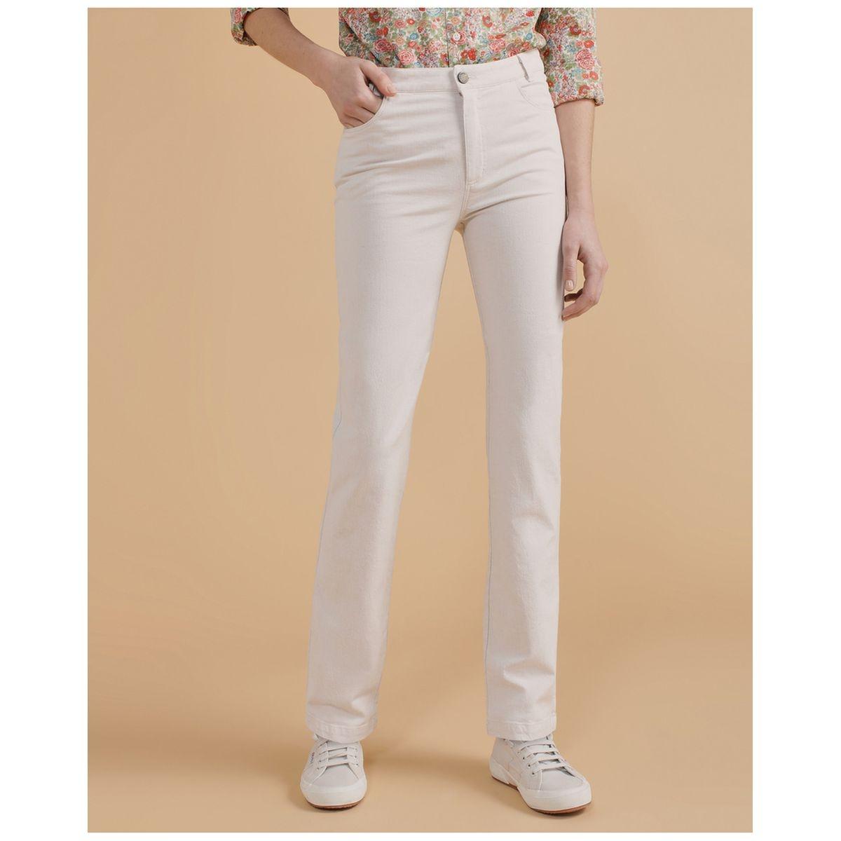 Pantalon droit cinq poches en lin mélangé