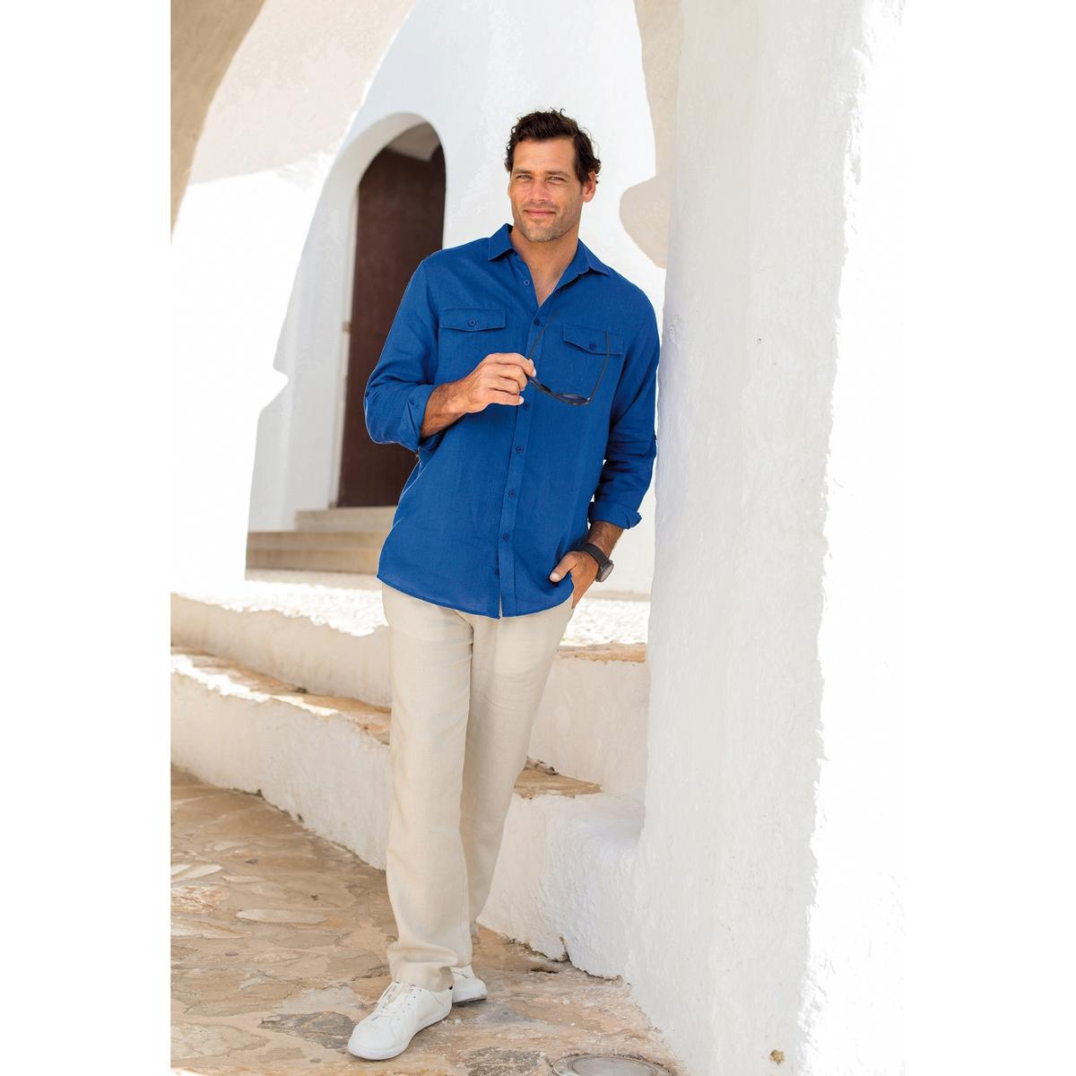 Рубашка с длинными рукавами из льнаРубашка с длинными рукавами. Удобная модель. 100% лен. Длинные рукава можно подворачивать. Воротник со свободными уголками. 2 нагрудных кармана с клапаном. Складка сзади. Закругленный низ. - длина рубашки спереди : 83 см для размера 41/42 и 92 см для размера 59/60.- длина рукавов : 65 см<br><br>Цвет: голубой меланж<br>Размер: 45/46.57/58.53/54.51/52