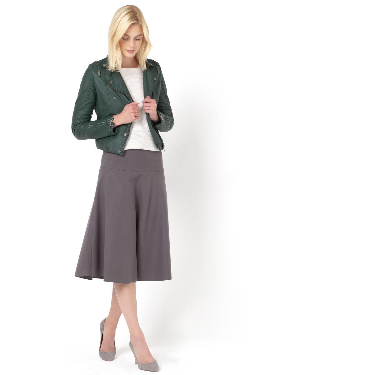 Юбка-миди (из драпа)Длинная юбка R ESSENTIELS. Юбка из драпа. Расклешенный покрой, отрезная на бедрах. Застежка на молнию сбоку. Длина до колена, ок.73 см.  Состав юбки: - в черном цвете: 57% шерсти, 30% полиэстера, 10% акрила, 3% другие волокна.. - в сером цвете: 57% шерсти, 30% шерсти, 10% акрила, 3% других волокон.<br><br>Цвет: серый<br>Размер: 40 (FR) - 46 (RUS)