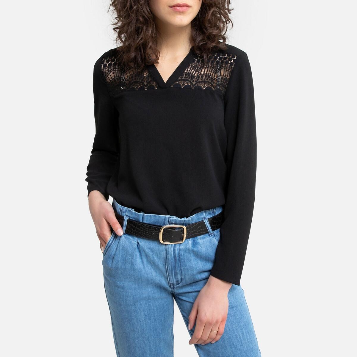 Блузка La Redoute С рукавами V-образным вырезом и вставками из кружева XS черный футболка la redoute кружевная с v образным вырезом и рукавами l черный