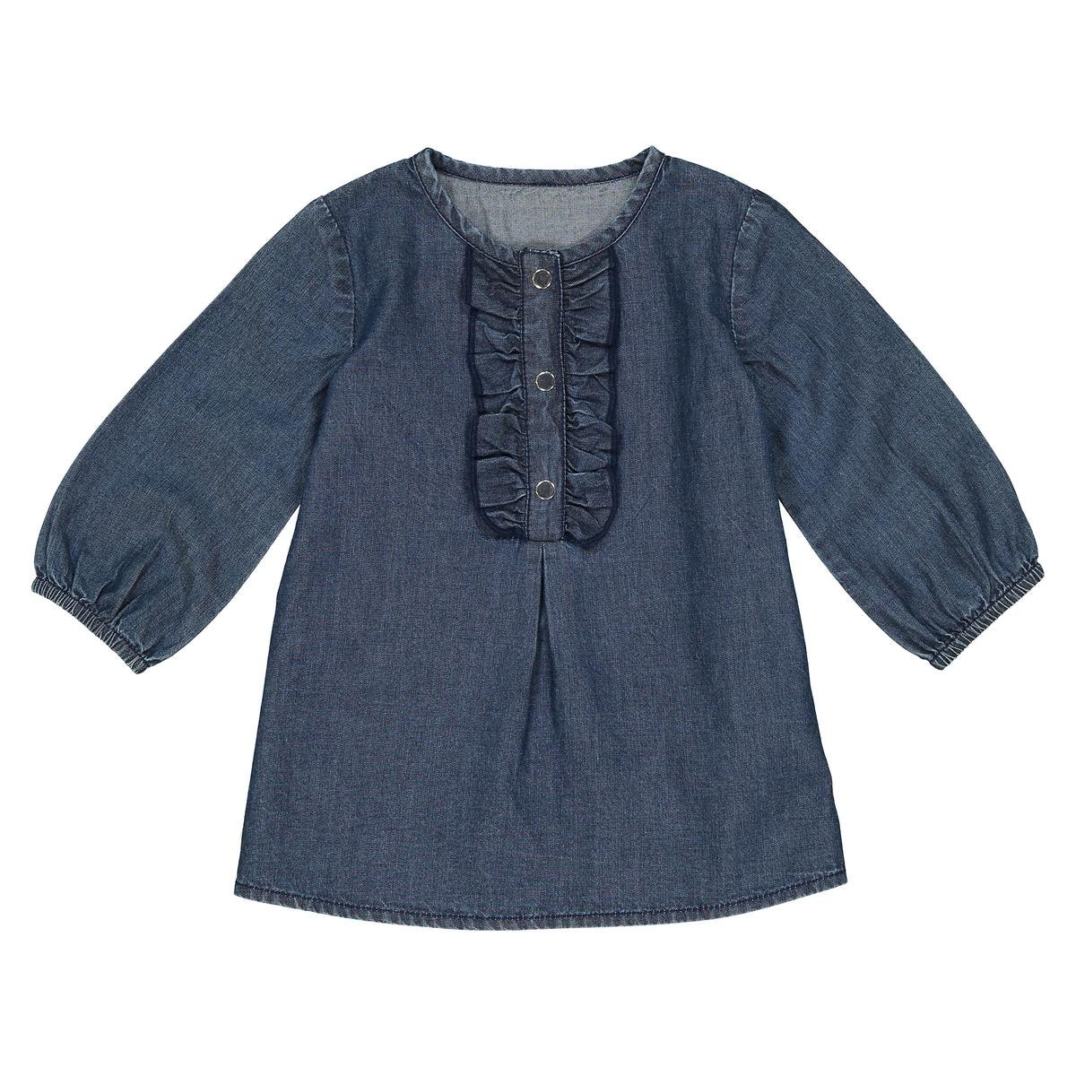 Платье из денима с длинными рукавами 1 мес - 3 лет футболка с длинными рукавами 1 мес 3 лет