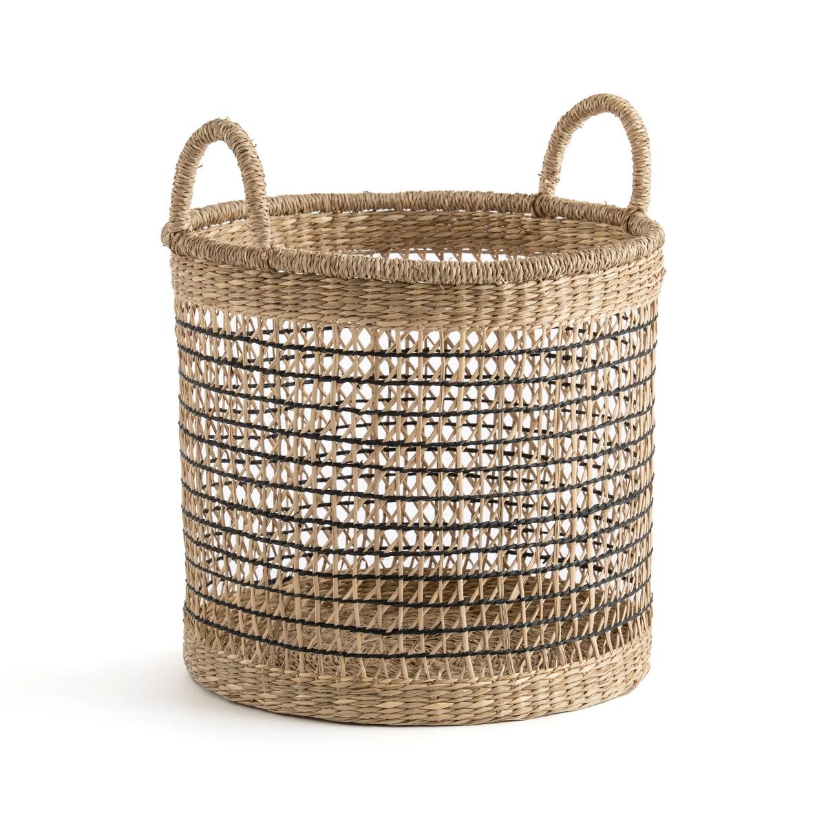 An image of Kezia Rund Woven Grass Openwork Basket by La Redoute