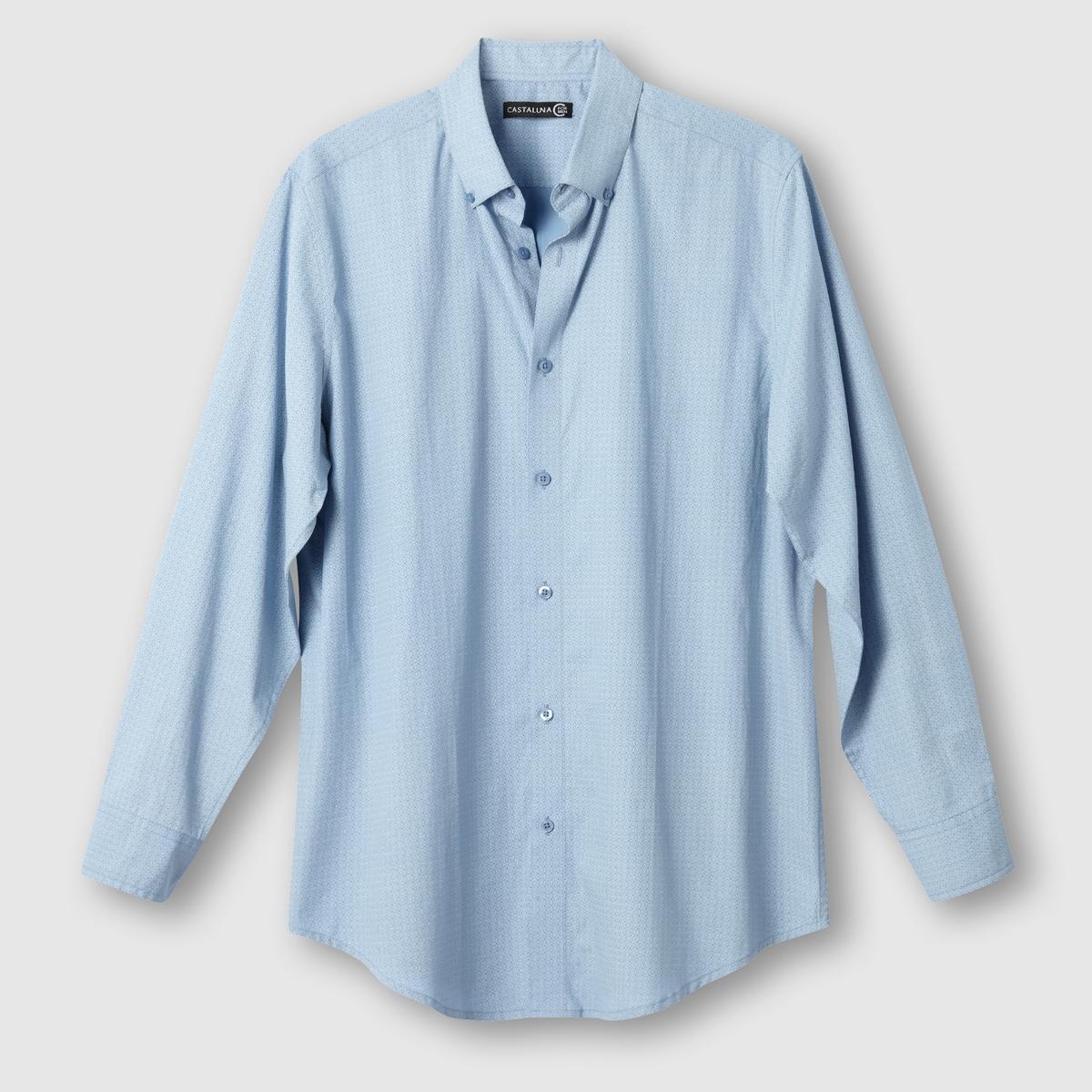 Рубашка с рисункомРубашка с геометрическим рисунком. Длинные рукава.Рубашка с неброским рисунком. Воротник с застежкой на пуговицы. 2 складки на спине. Закругленный низ. Поплин, 100% хлопок. Длина 85 см.<br><br>Цвет: наб. рисунок синий<br>Размер: 41/42.47/48