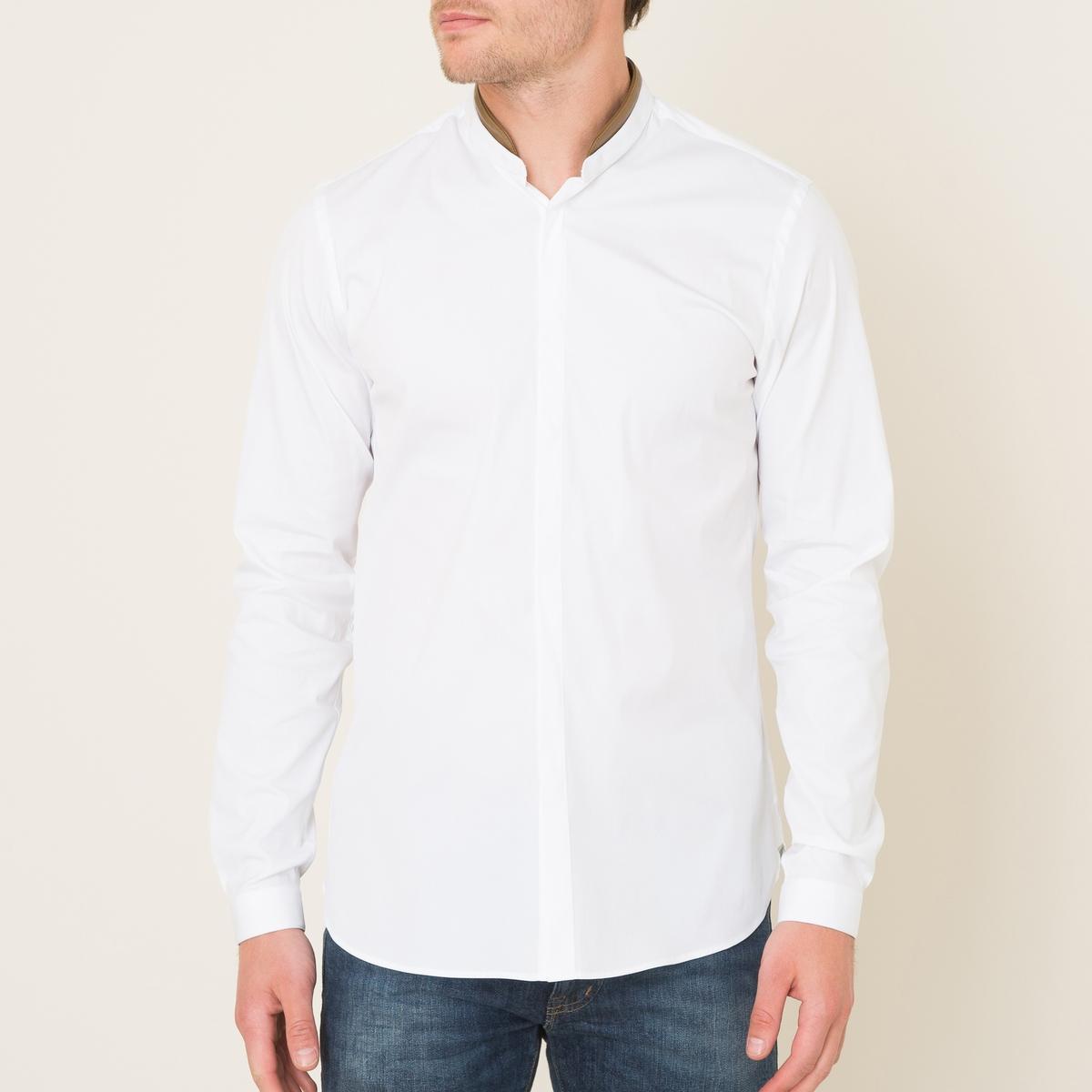 Рубашка однотонная с отделкой кожей